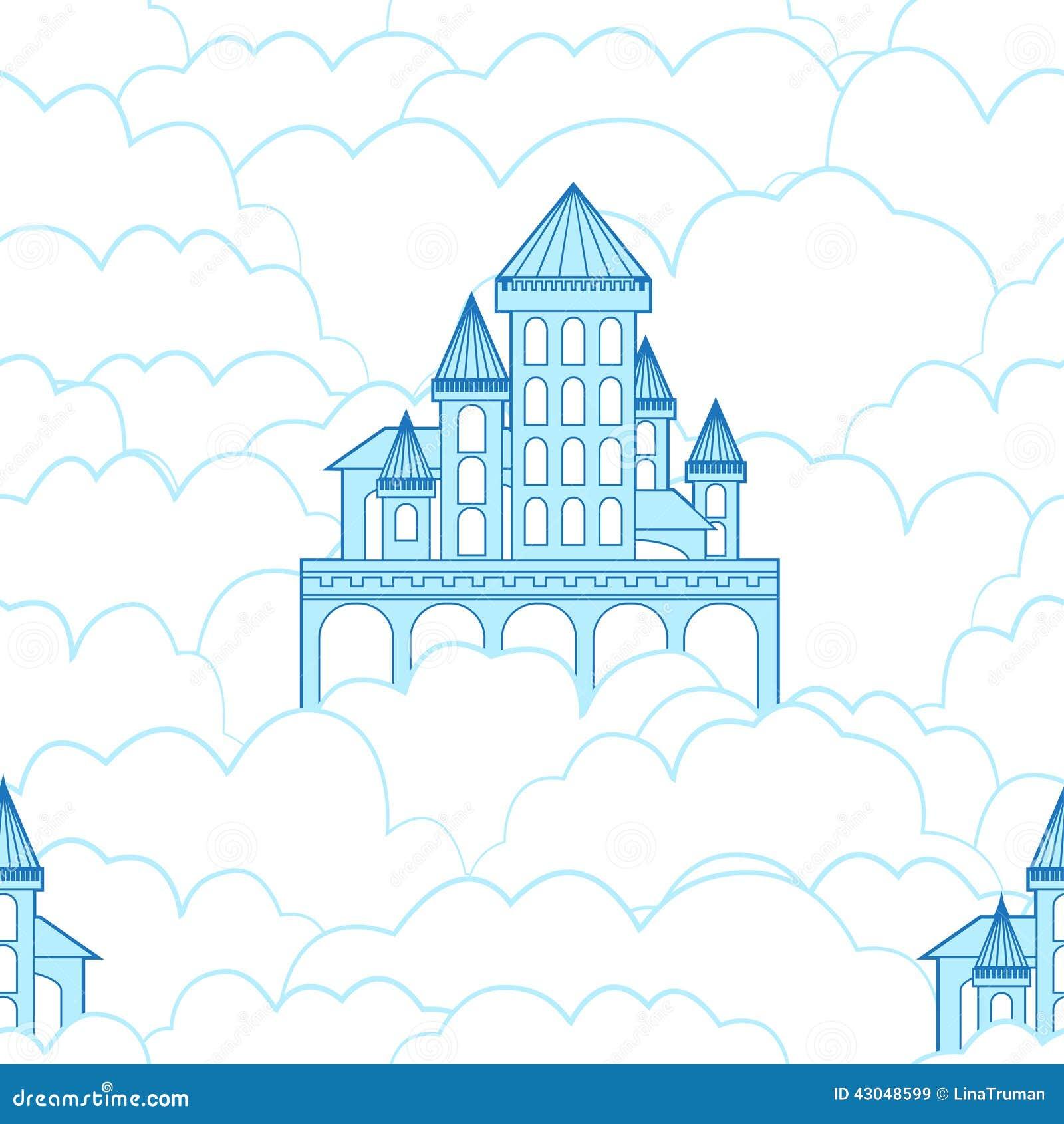 Un Chateau Dans Les Nuages modèle sans couture d'un château dans les nuages