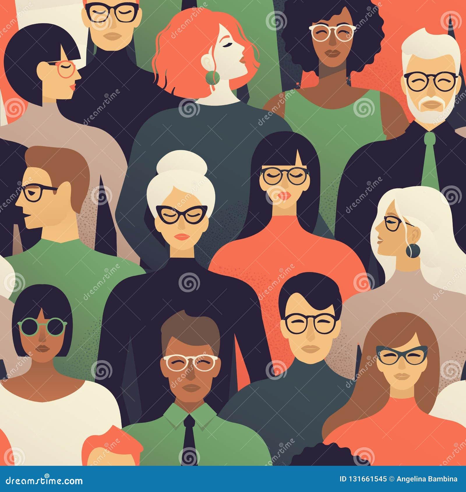 Modèle sans couture de beaucoup de différentes têtes de profil de personnes Fond de vecteur