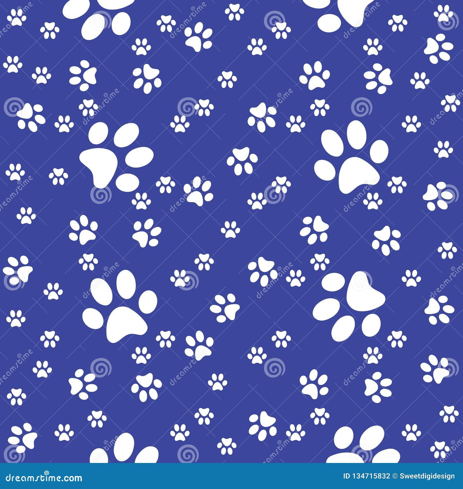 Modèle sans couture de bleu marine de pattes, fond de patte, illustration de vecteur