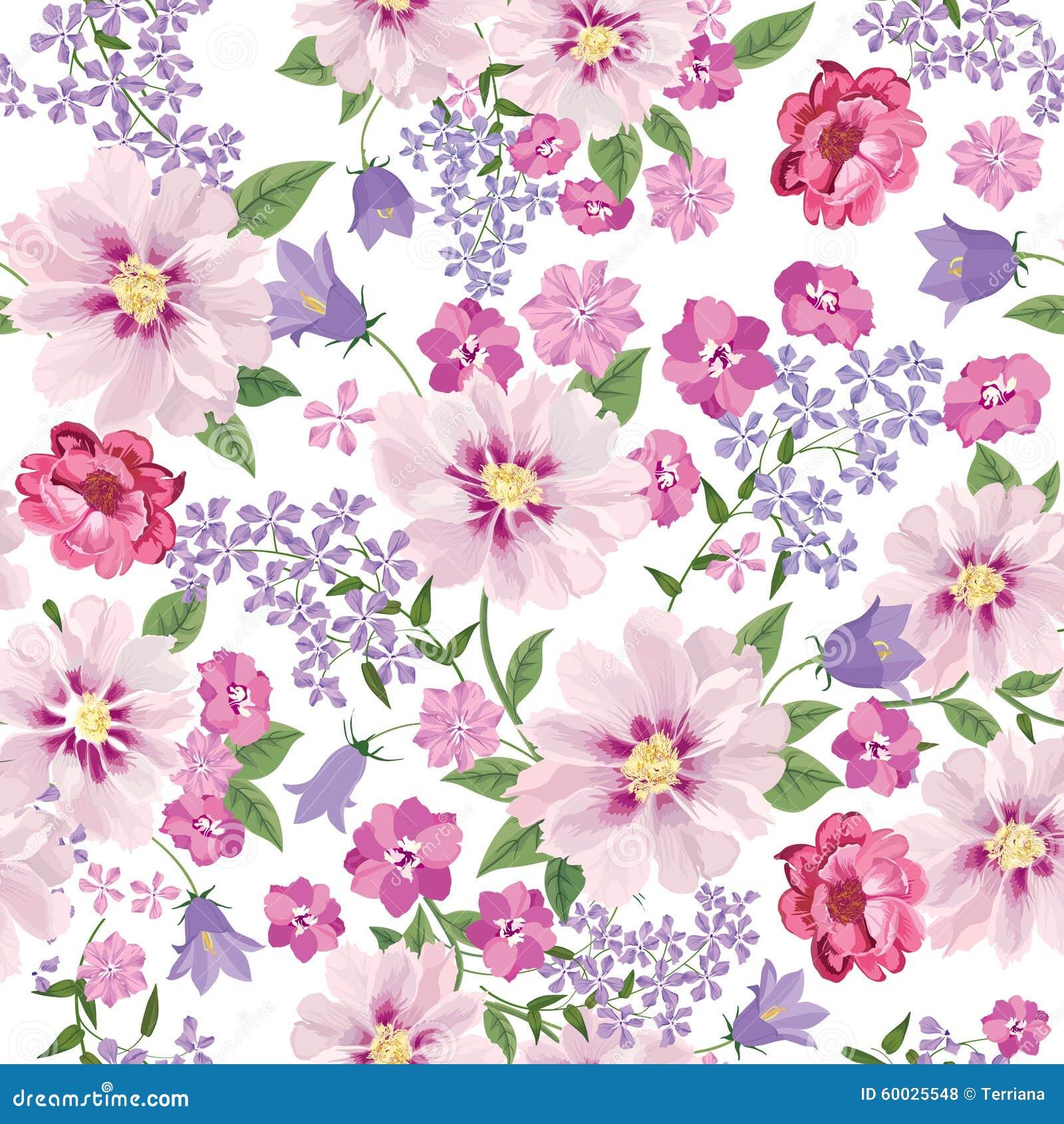 Modele Sans Couture De Bouquet De Fleur Papier Peint Floral Gree De