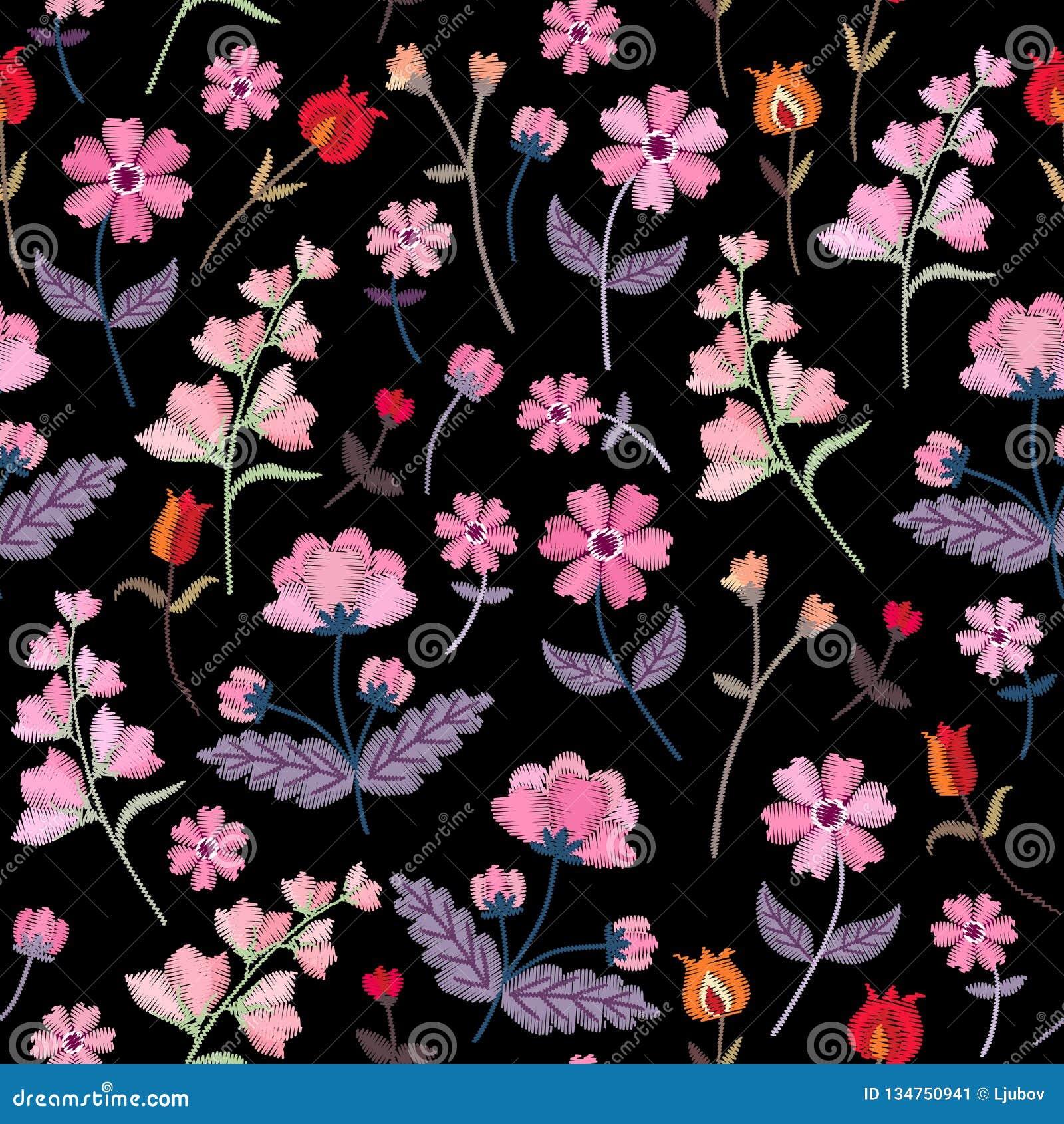 Modèle sans couture de broderie avec différentes fleurs sauvages Ornement floral de vecteur sur le fond noir Point de satin