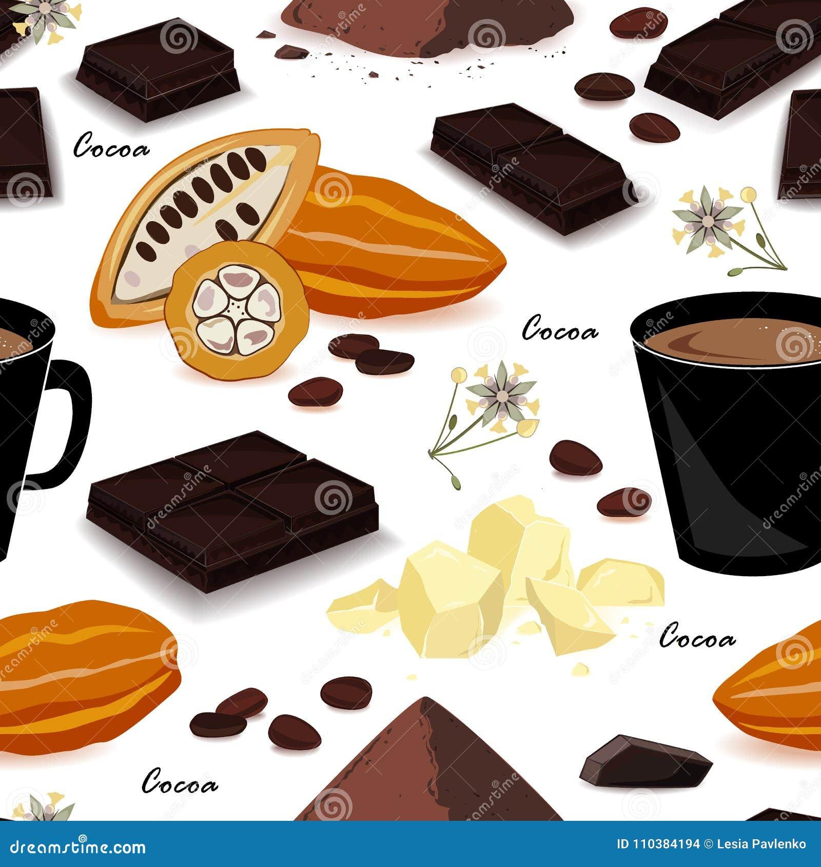 Modèle sans couture de cacao Cosse, haricots, beurre de cacao, boisson alcoolisée de cacao, chocolat, boisson de cacao et poudre