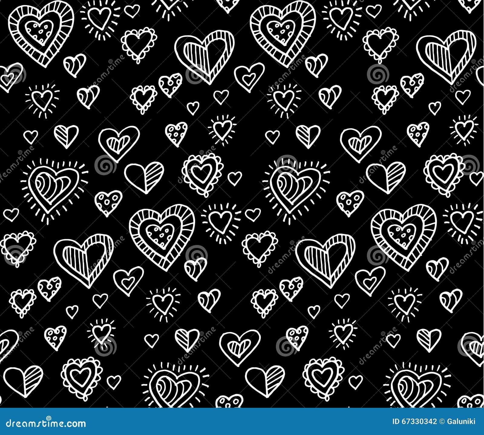 Modèle Sans Couture De Coeur Noir Et Blanc Illustration De