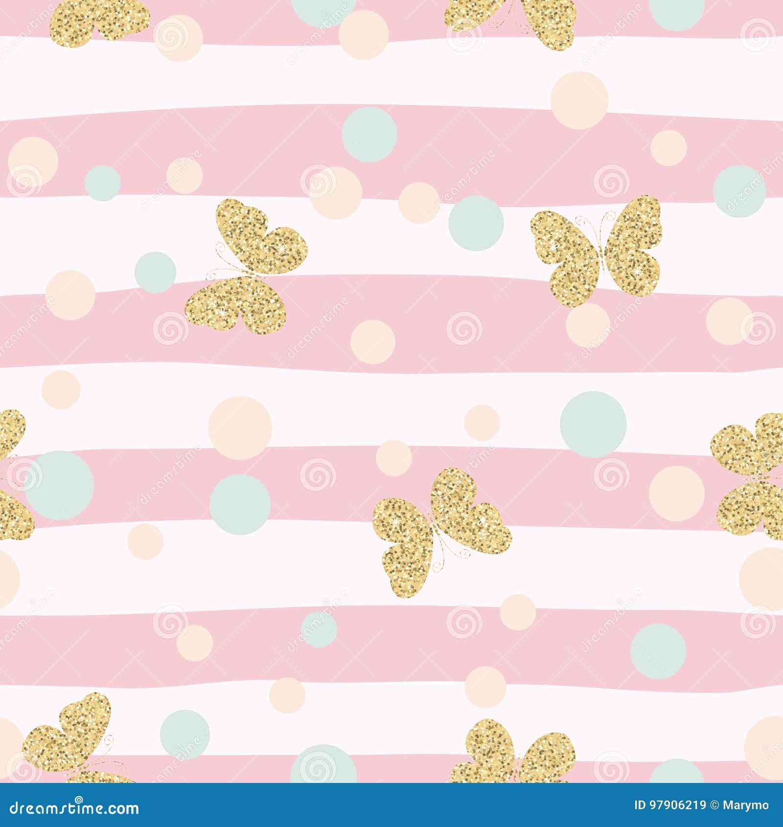 Modèle sans couture de confettis éclatants de papillons d or sur le fond rayé rose