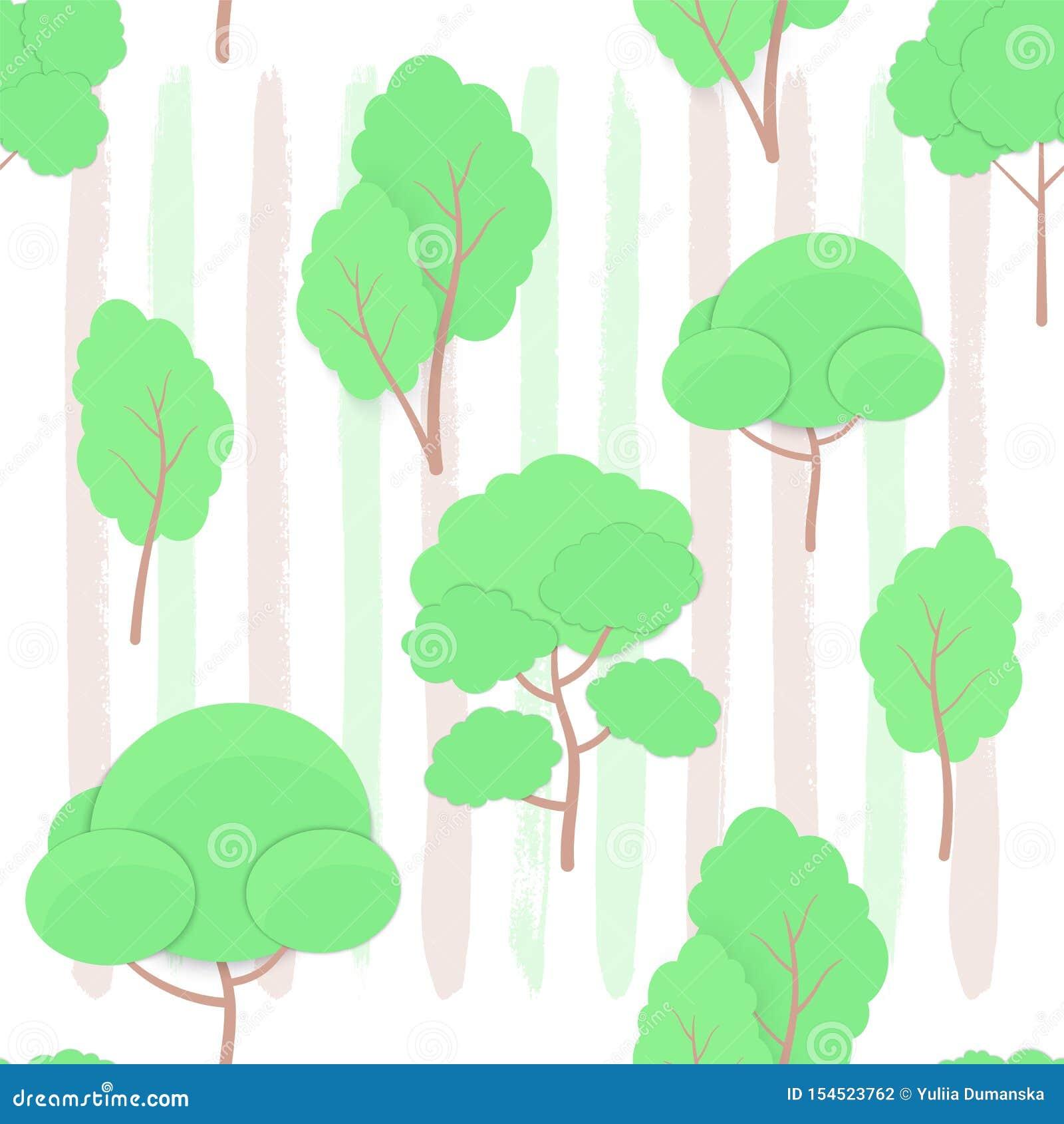 Modèle sans couture de contexte tiré à la mode d encre de style de métier de coupe de papier d arbres de bande dessinée en main É