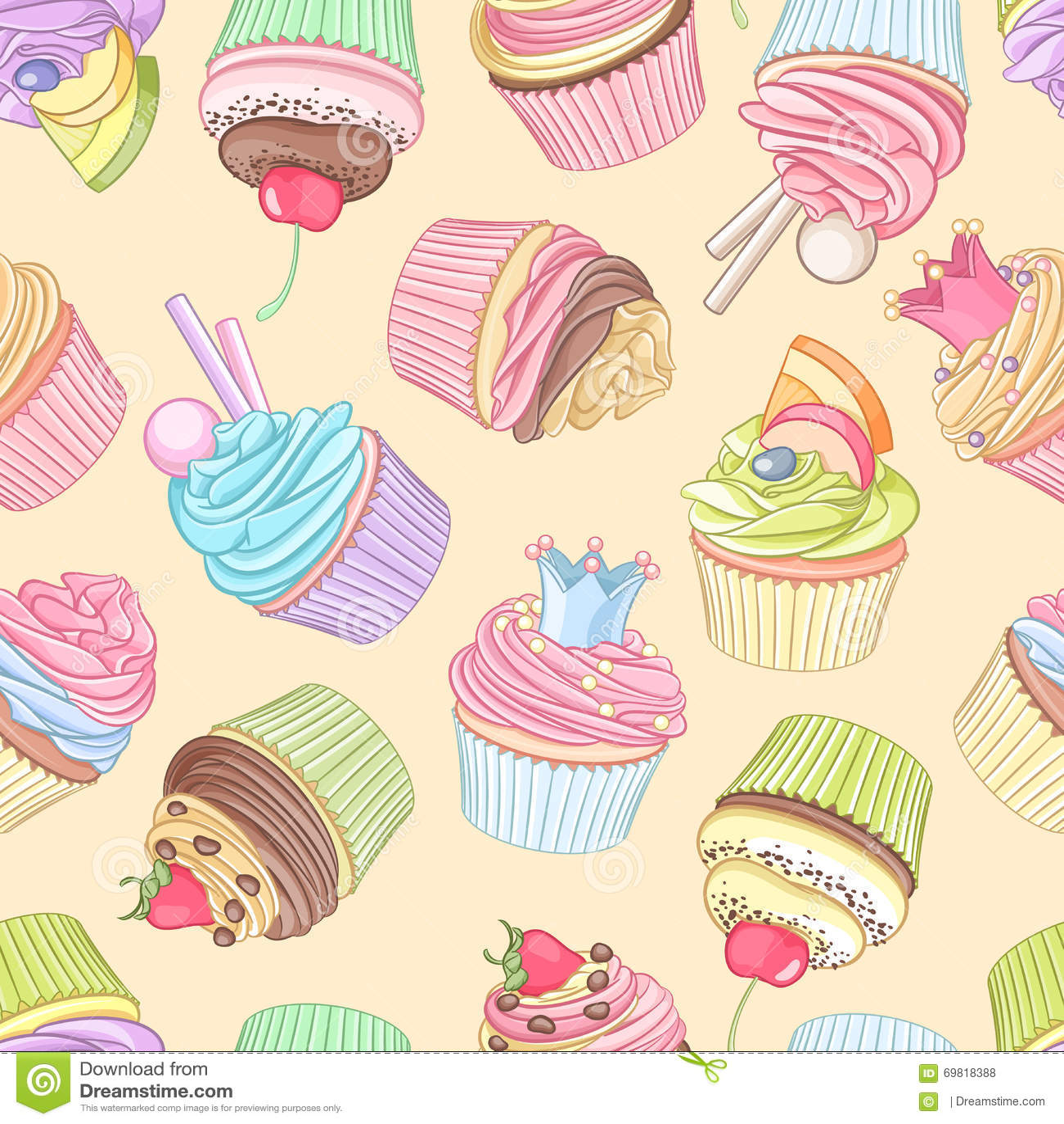 Modèle sans couture de différents petits gâteaux Illustration de vecteur