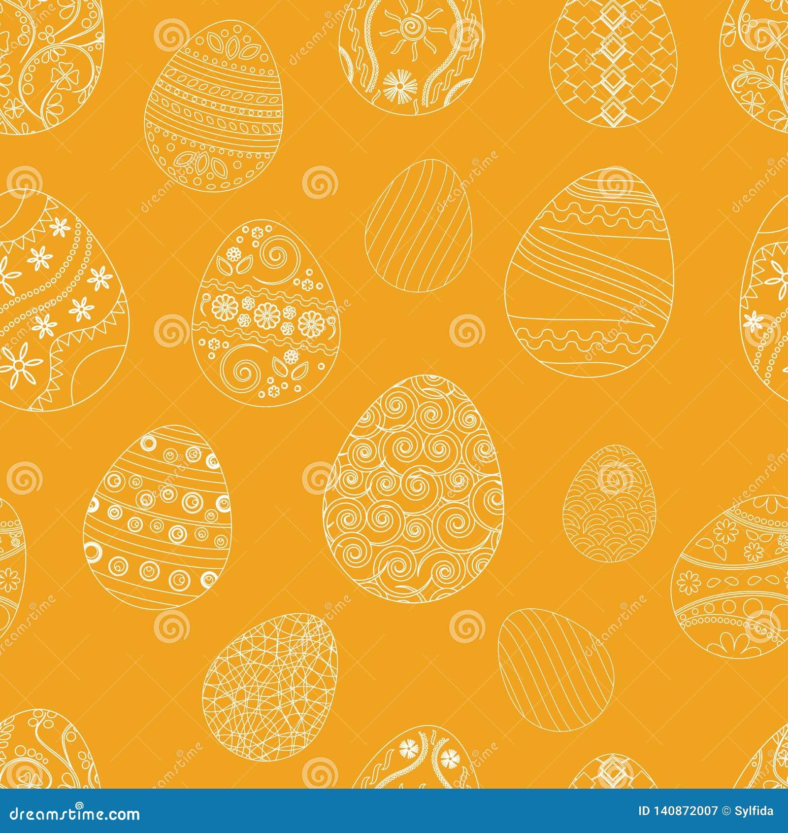 Modèle sans couture de fête avec des oeufs de pâques sur le fond orange Illustration de vecteur