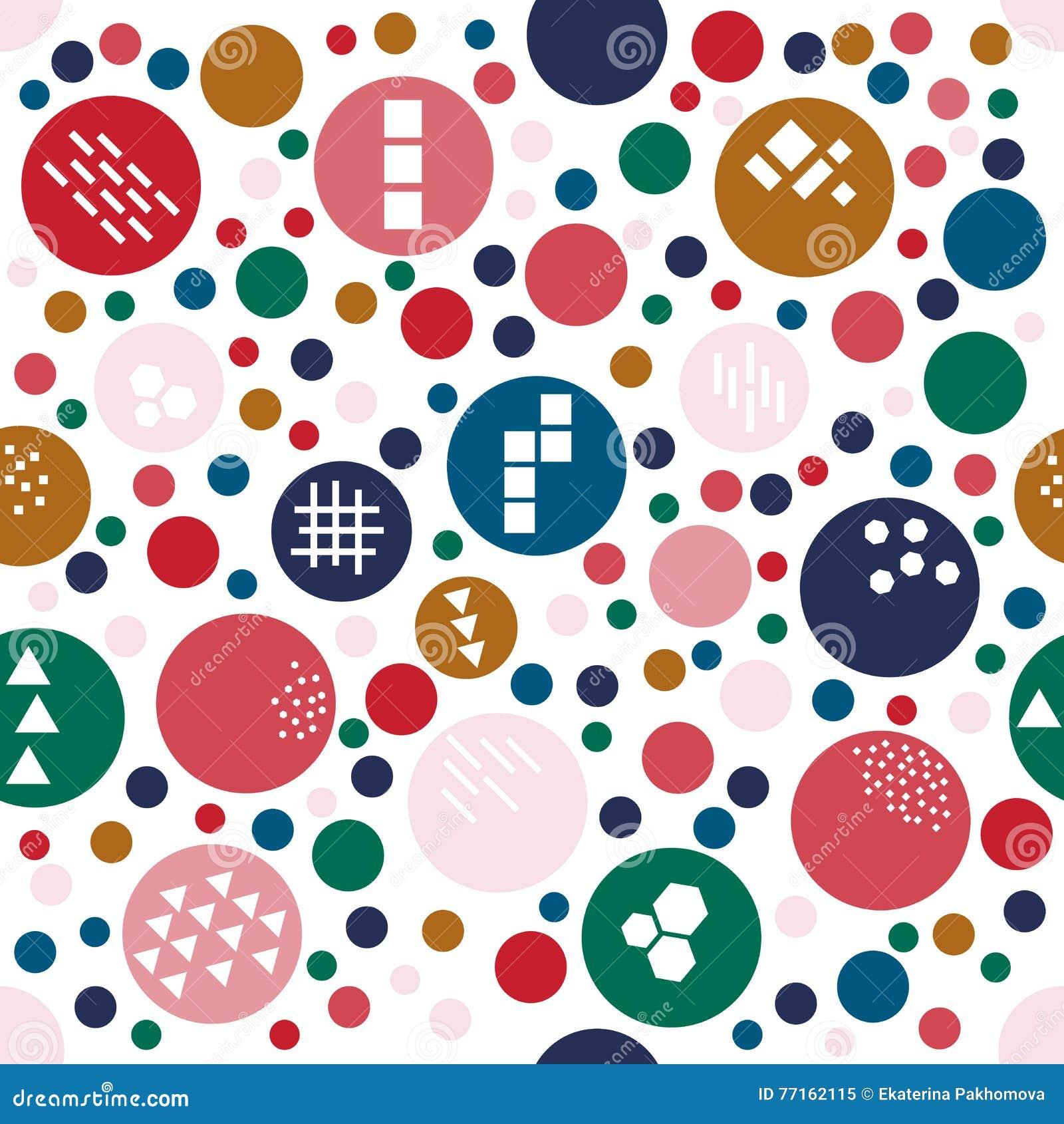 Modèle sans couture de fête multicolore avec le point de polka drôle de la taille différente