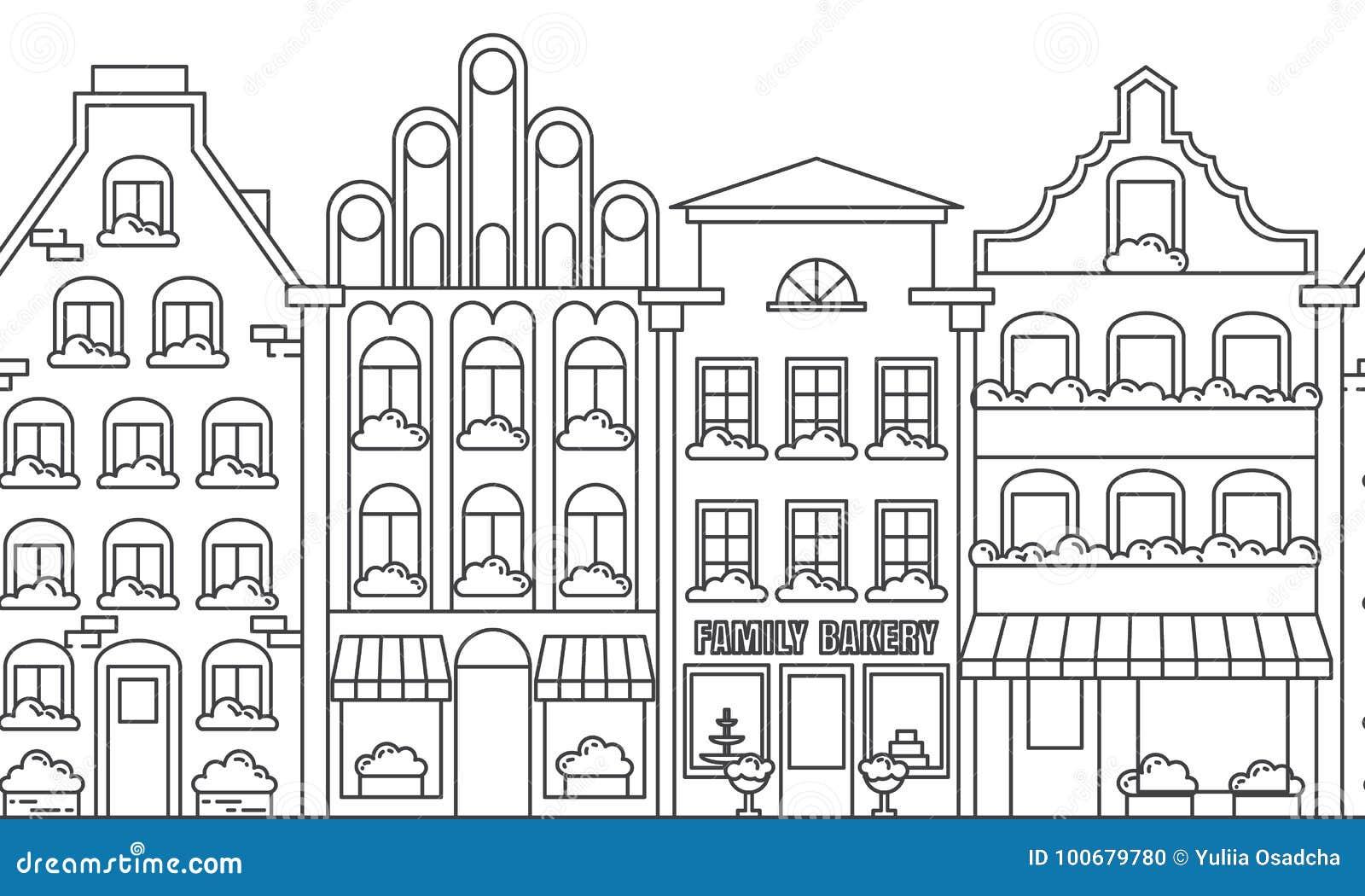 Modèle sans couture de frontière de paysage de ville avec des maisons de rapport Illustration de vecteur de schéma