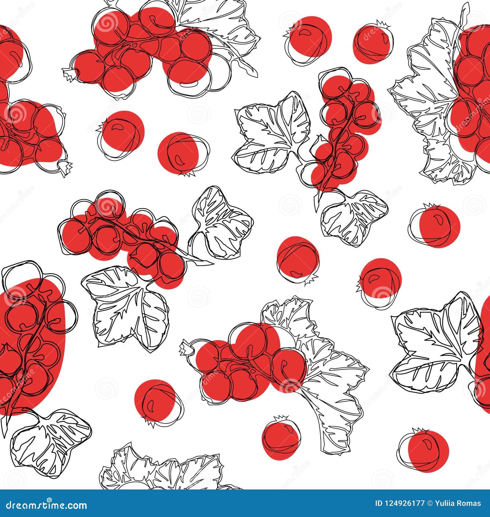 Modèle sans couture de fruit de groseille rouge Fond blanc avec des baies de groseille rouge Meilleur pour la conception des brea