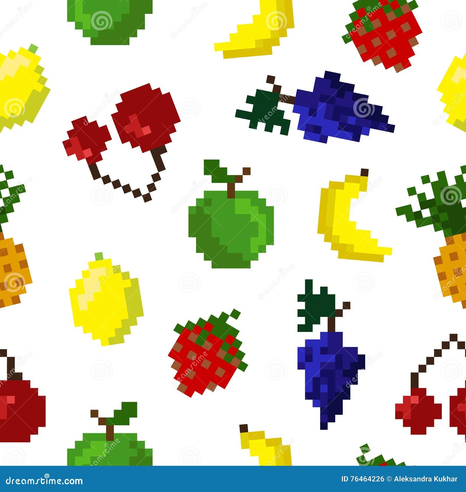 Modèle Sans Couture De Fruits Dart De Pixel Illustration De
