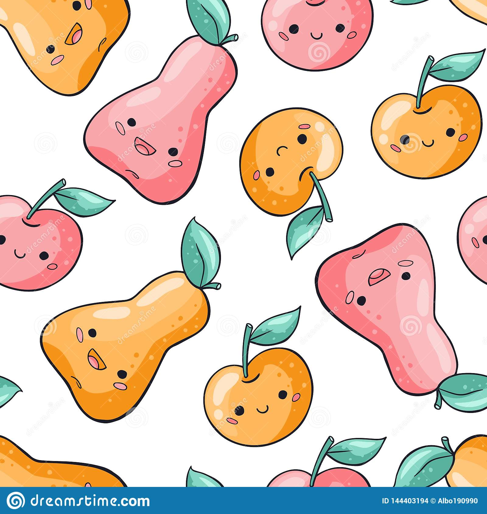 Modèle sans couture de fruits mignons de bande dessinée sur le fond blanc Mod?le sans couture de nourriture saine dans le style d