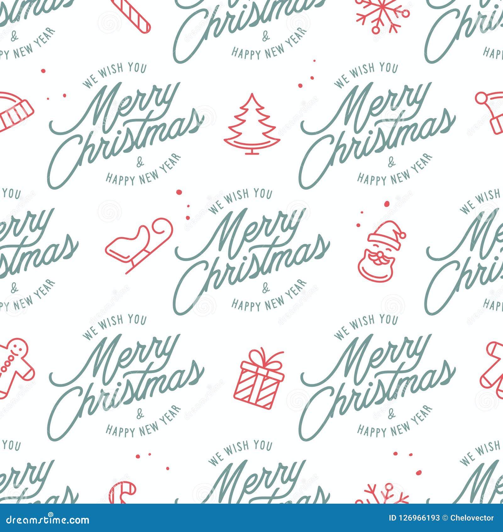 Modèle sans couture de Joyeux Noël et de bonne année Illustration de vintage de vecteur