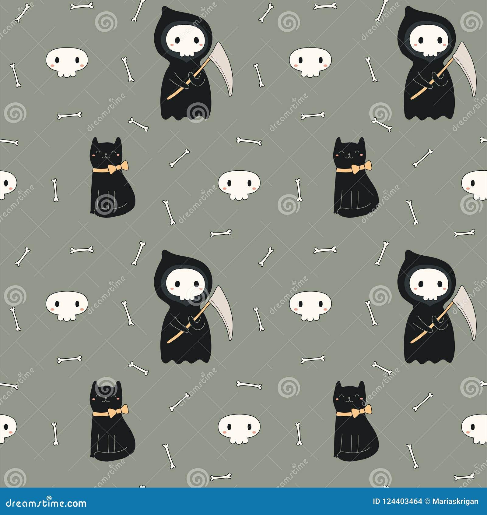 Modèle Sans Couture De Kawaii Halloween Avec La Mort Et Le