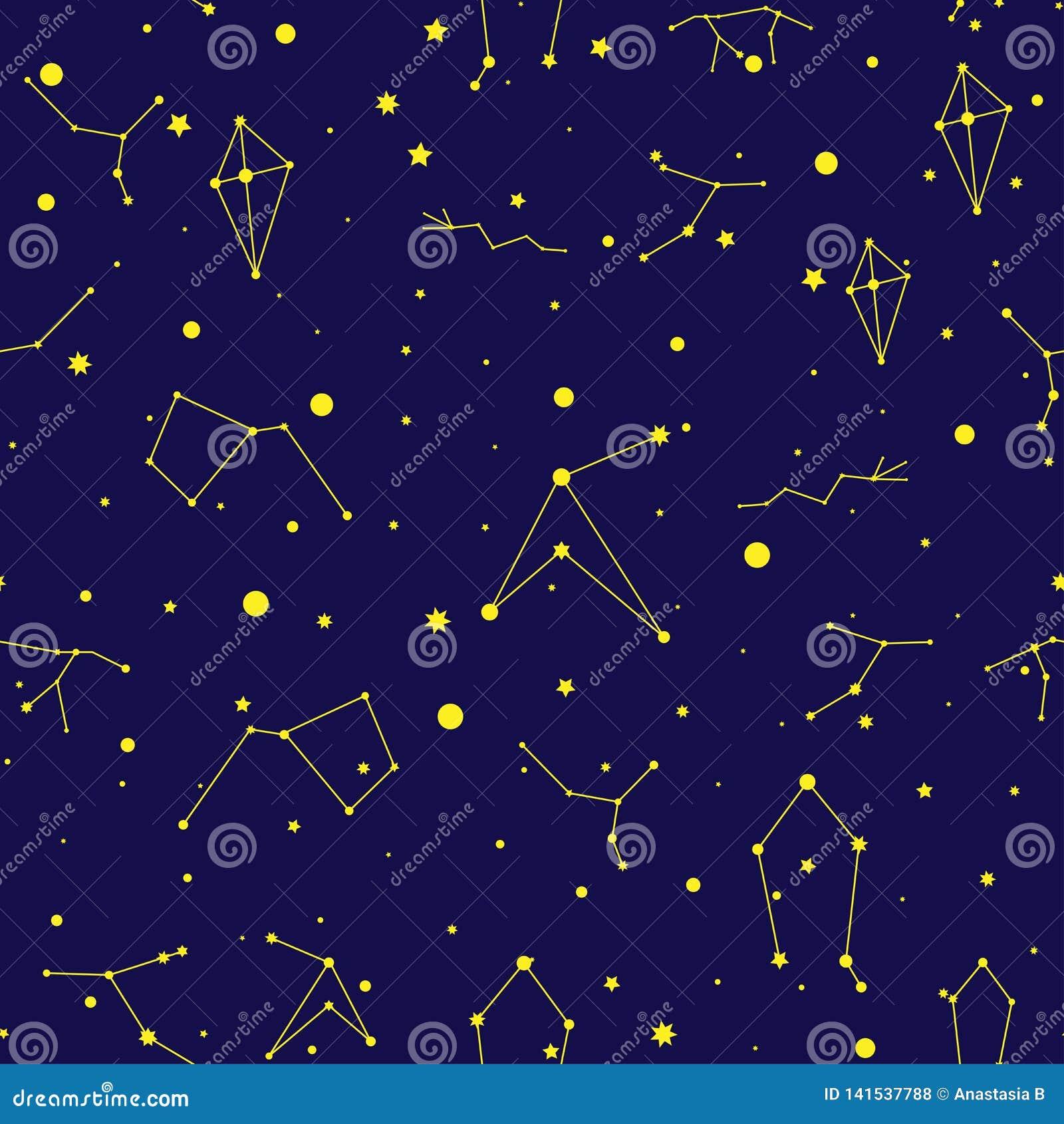 Modèle sans couture de l espace de vecteur Fond astronomique de griffonnage tiré par la main de ciel nocturne