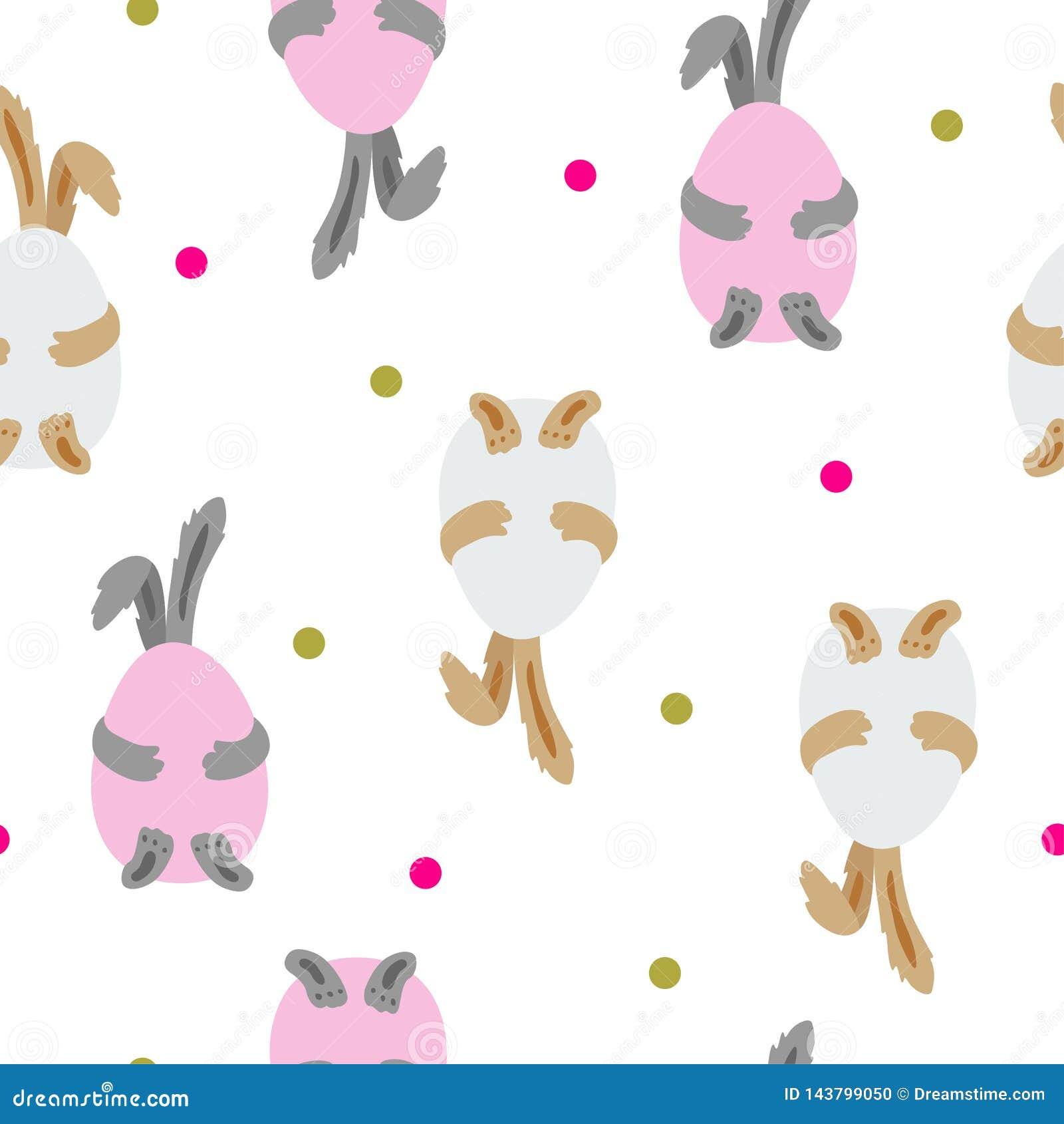 Modèle sans couture de lapins de Pâques Illustration mignonne