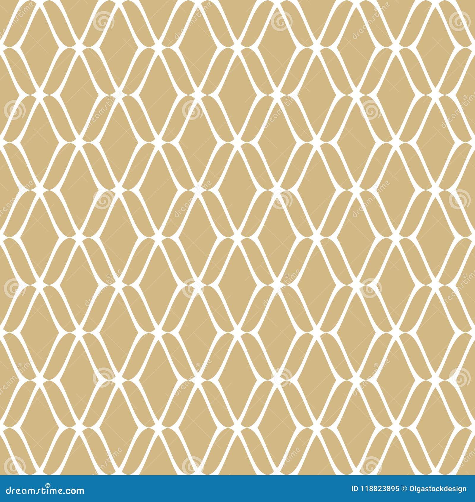 Modèle sans couture de maille d or Or subtil de vecteur et fond de luxe blanc