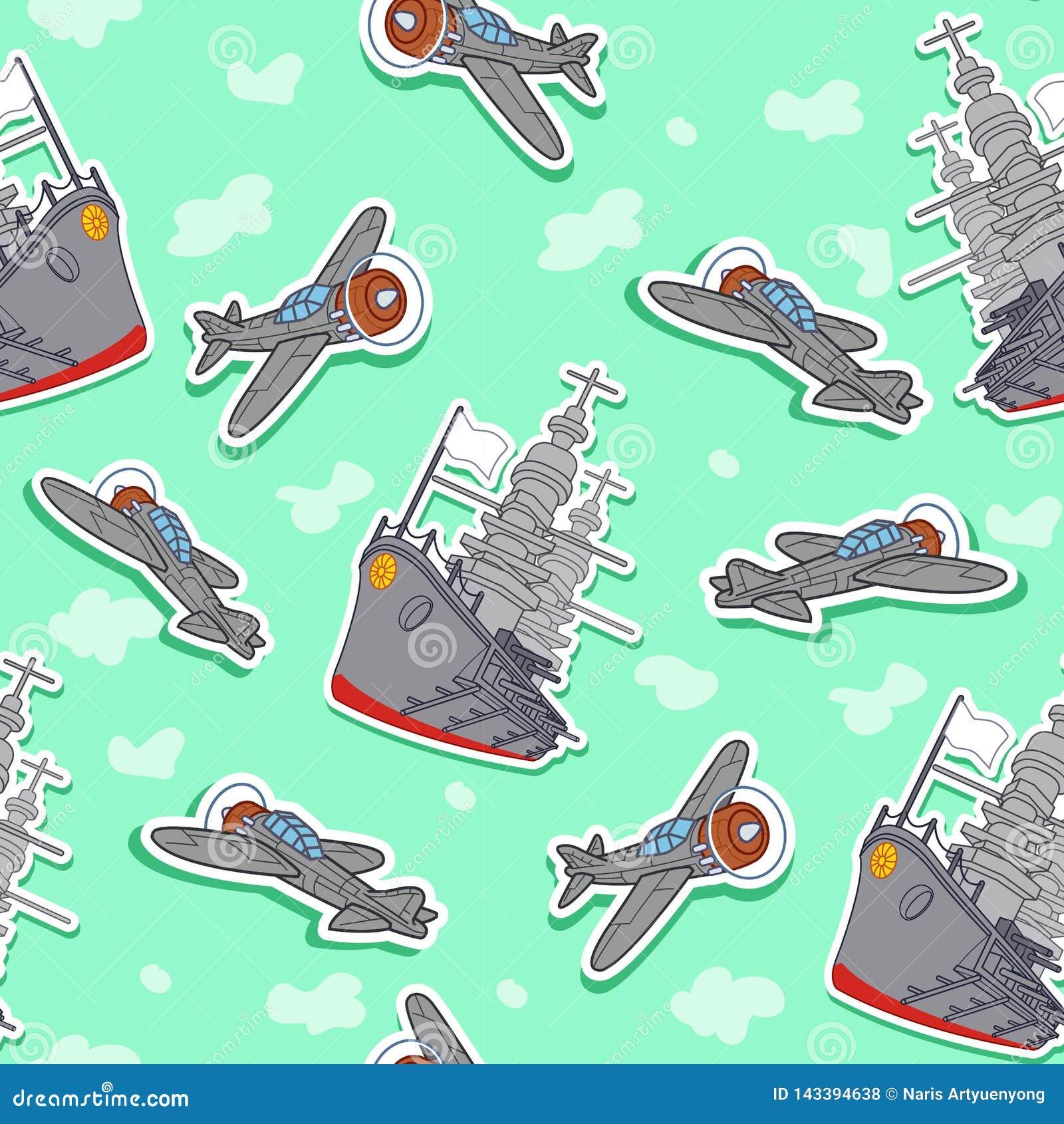Modèle sans couture de navire de guerre et d avions