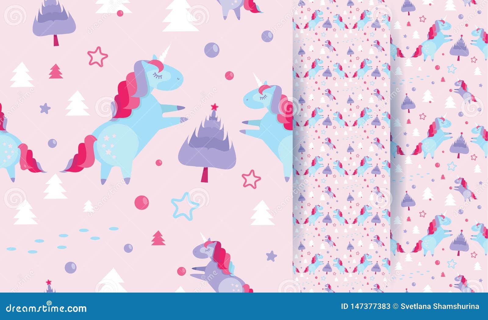 Modèle sans couture de Noël avec des licornes, sapins, boules, étoiles sur le fond rose Calibre de vacances avec la licorne de No