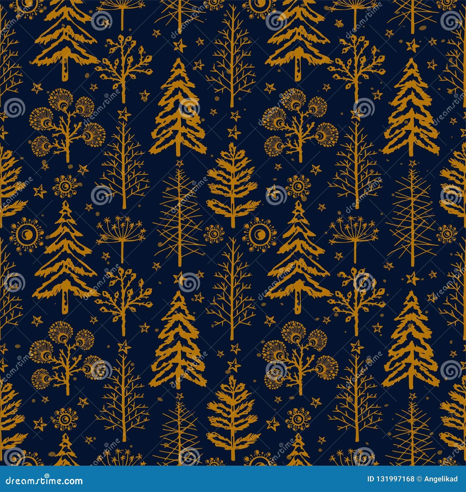 Modèle sans couture de Noël d or d hiver pour le papier de empaquetage de conception, carte postale, textiles