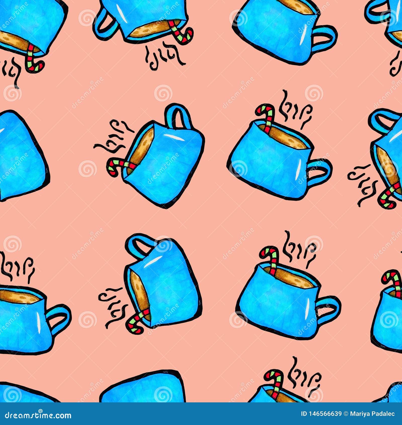 Modèle sans couture de Noël dessiné à la main Tasse bleue sur un fond rose Caf?, cacao, cannelle An neuf