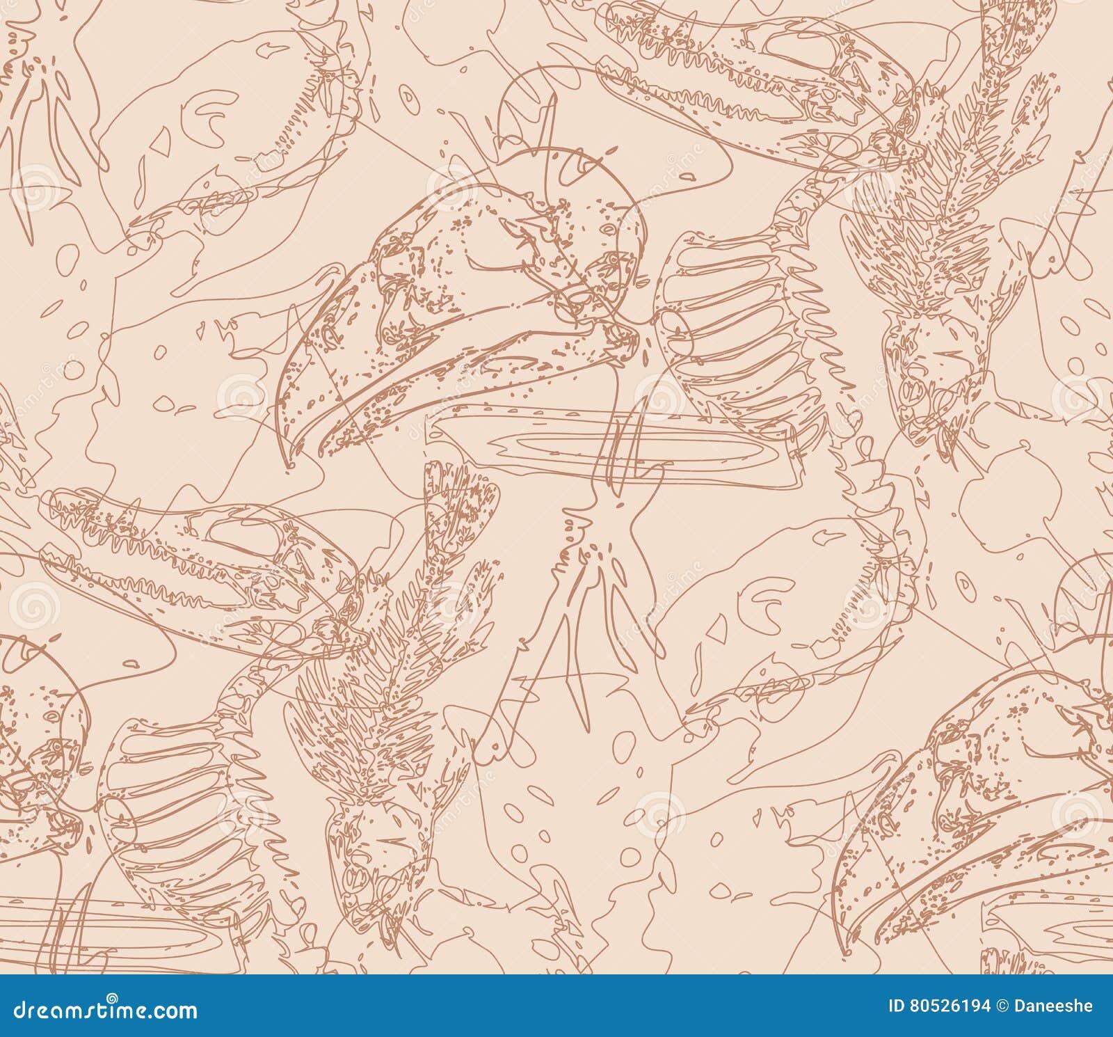 Modèle sans couture de paléontologie avec des os