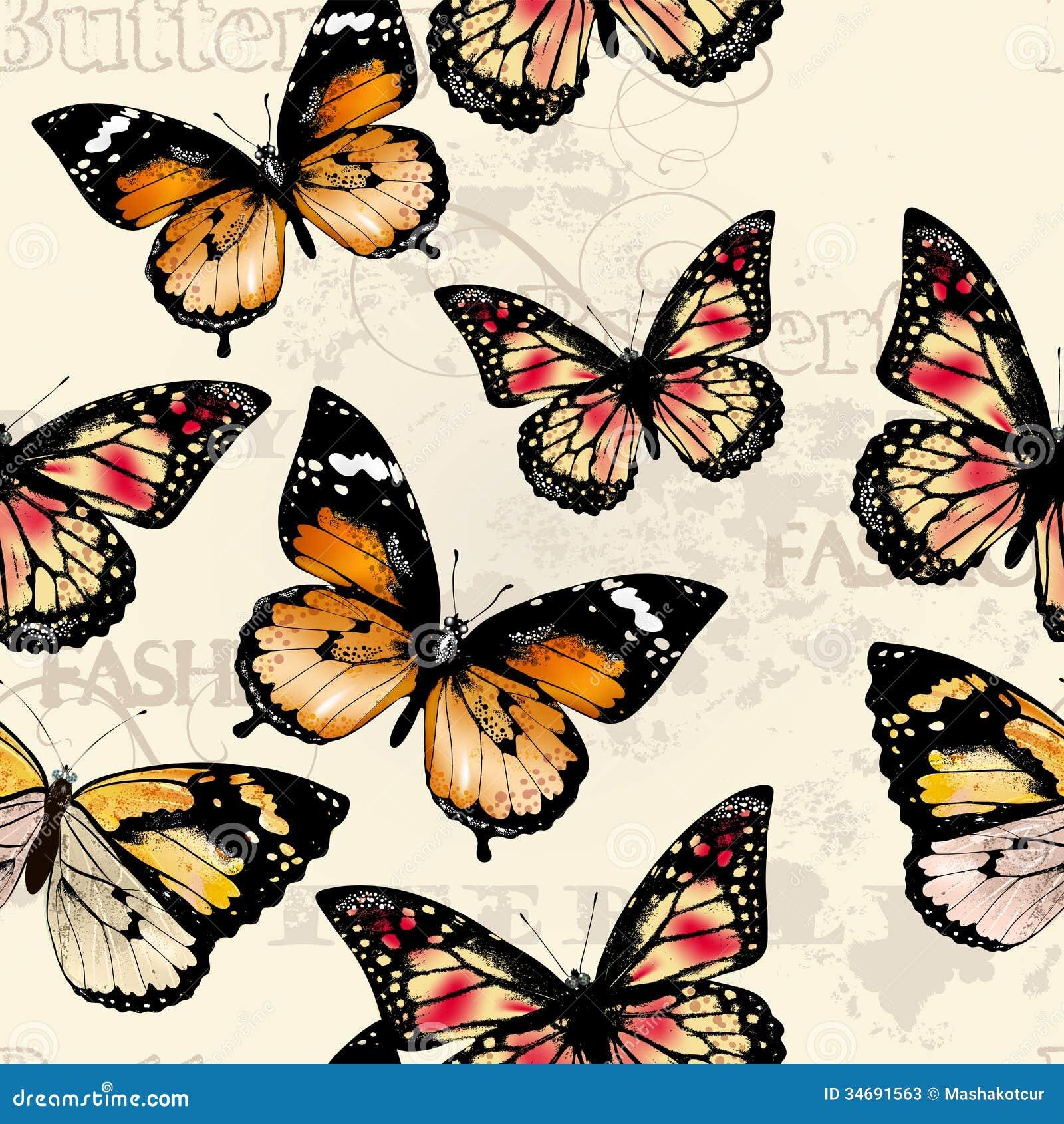 Mod le sans couture de papier peint de vecteur avec des papillons photos stock image 34691563 - Modele de papillon ...