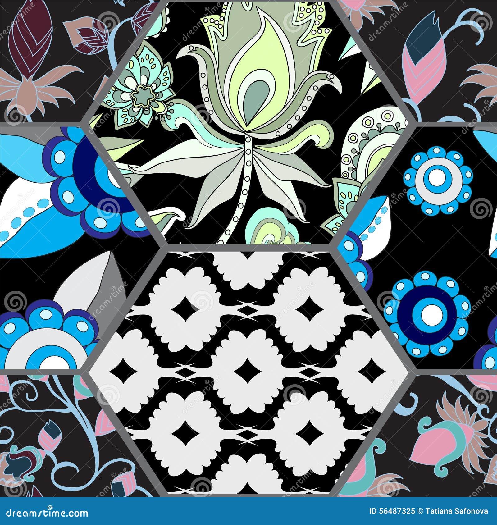 Modèle sans couture de patchwork avec des fleurs