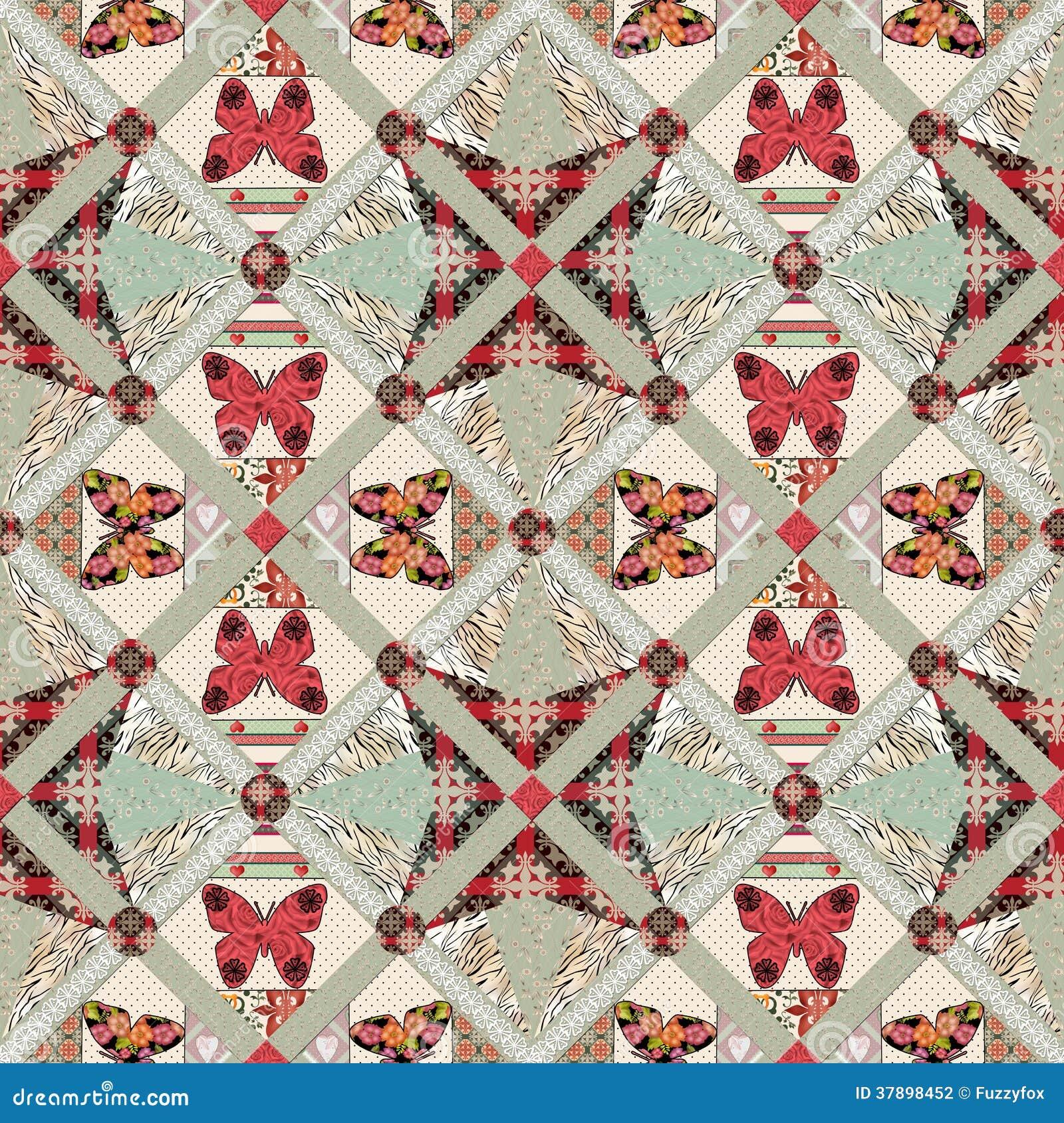 Modèle sans couture de patchwork avec la texture de papillons