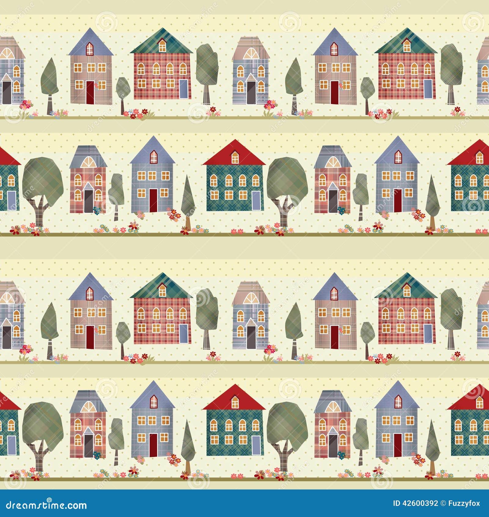 mod u00e8le sans couture de patchwork d u0026 39 enfants avec des maisons et des arbres illustration stock