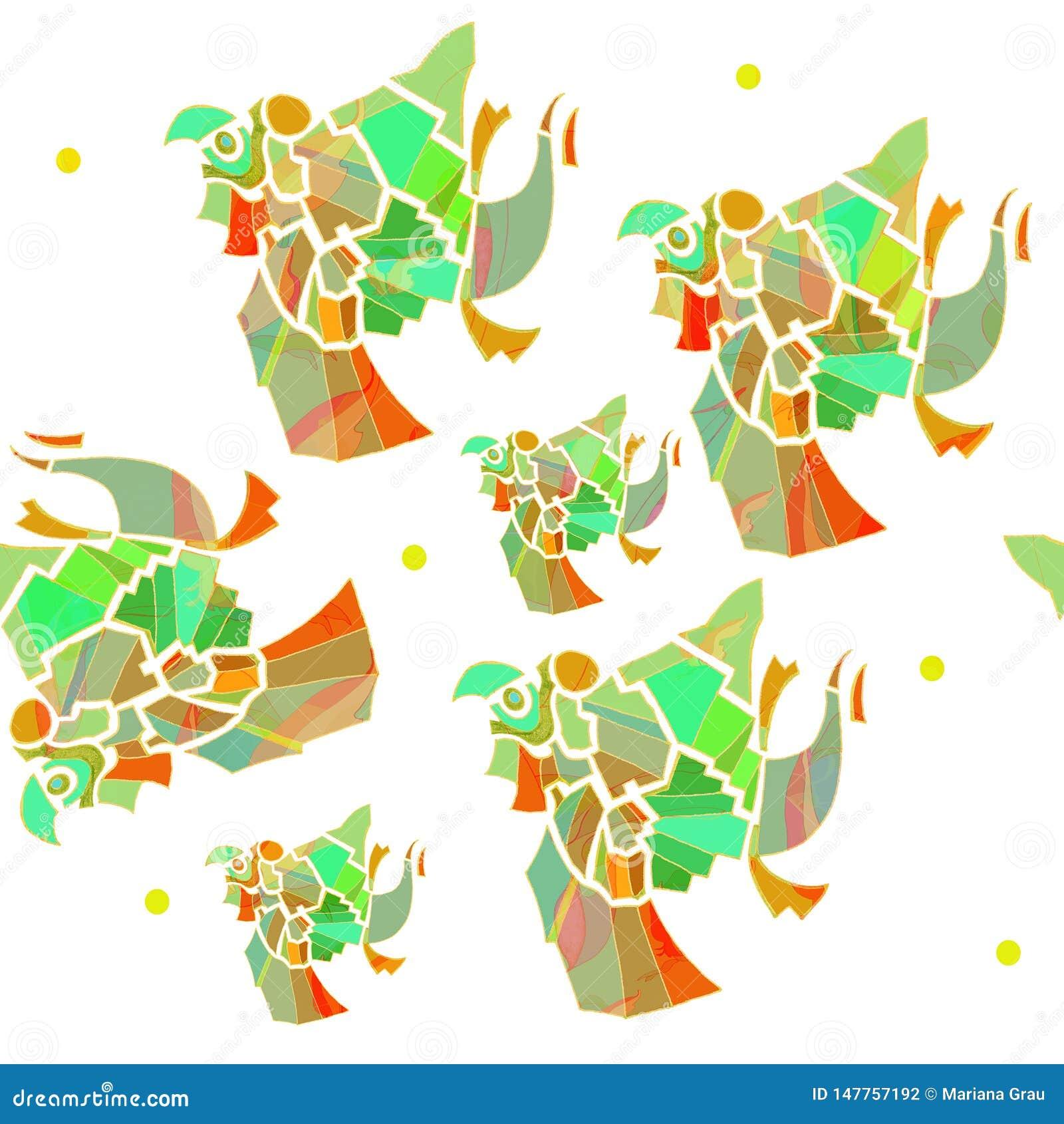 Modèle sans couture de perroquets mexicains de vecteur, vert, aquamrine, vert clair, orange, rouge, brun