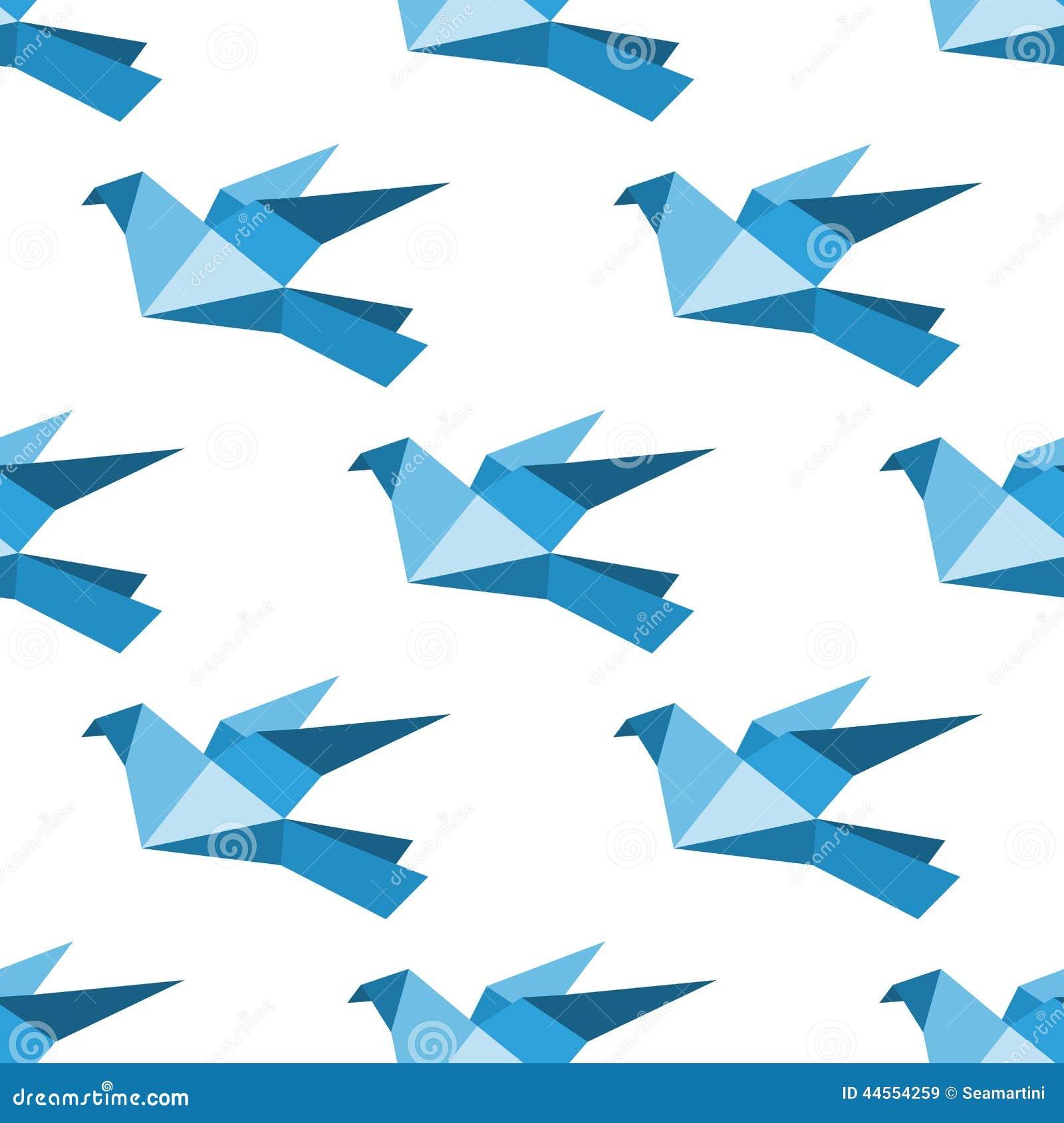 mod le sans couture de pigeons et de colombes d 39 origami illustration de vecteur image 44554259. Black Bedroom Furniture Sets. Home Design Ideas