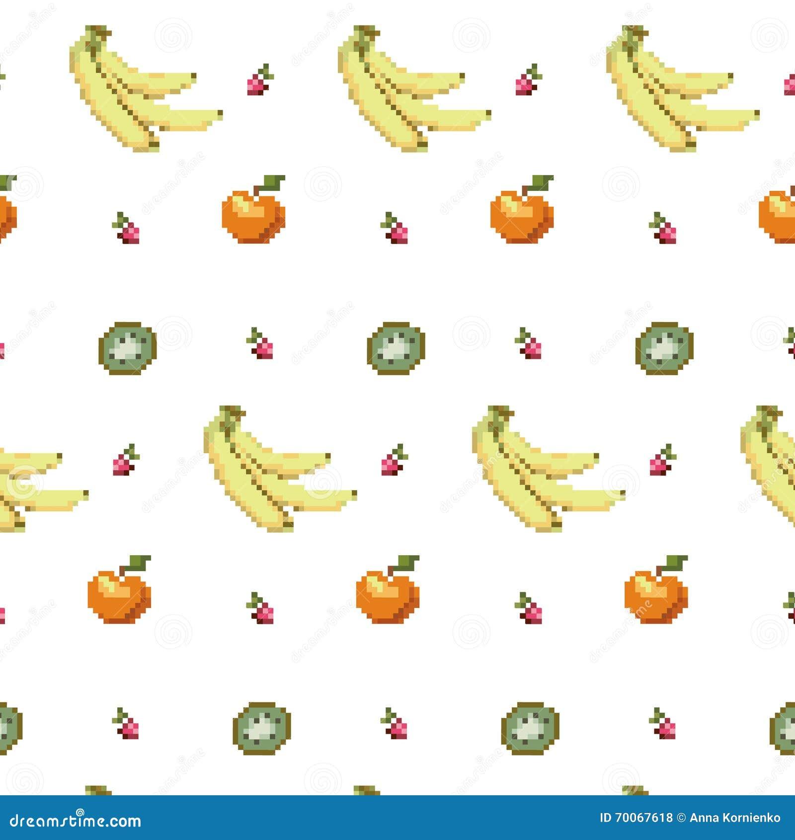 Modèle Sans Couture De Pixel Art De La Cuisine 8bit De Fruit