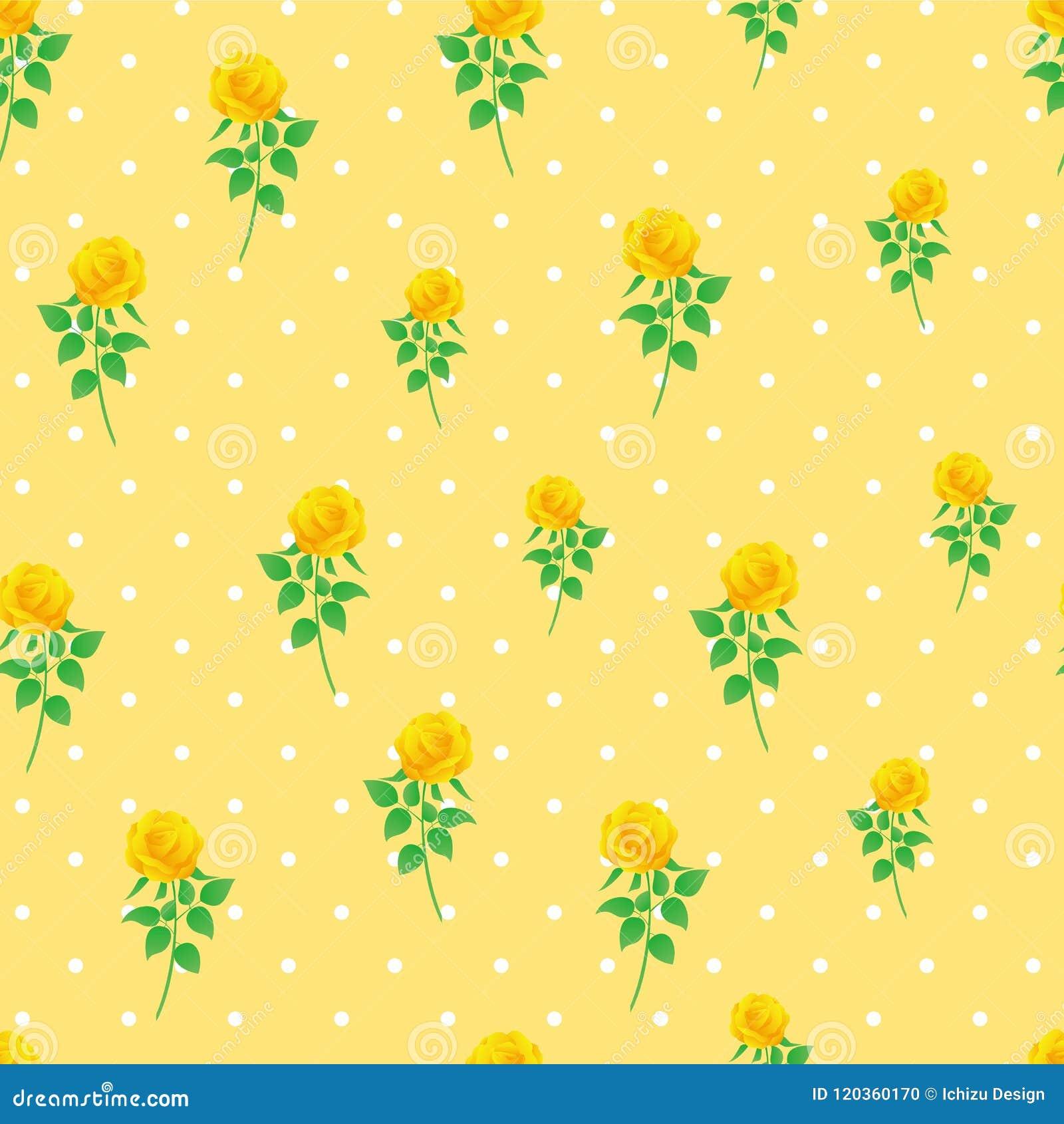 Modèle sans couture de polka de rose de jaune de fond de papier numérique de point