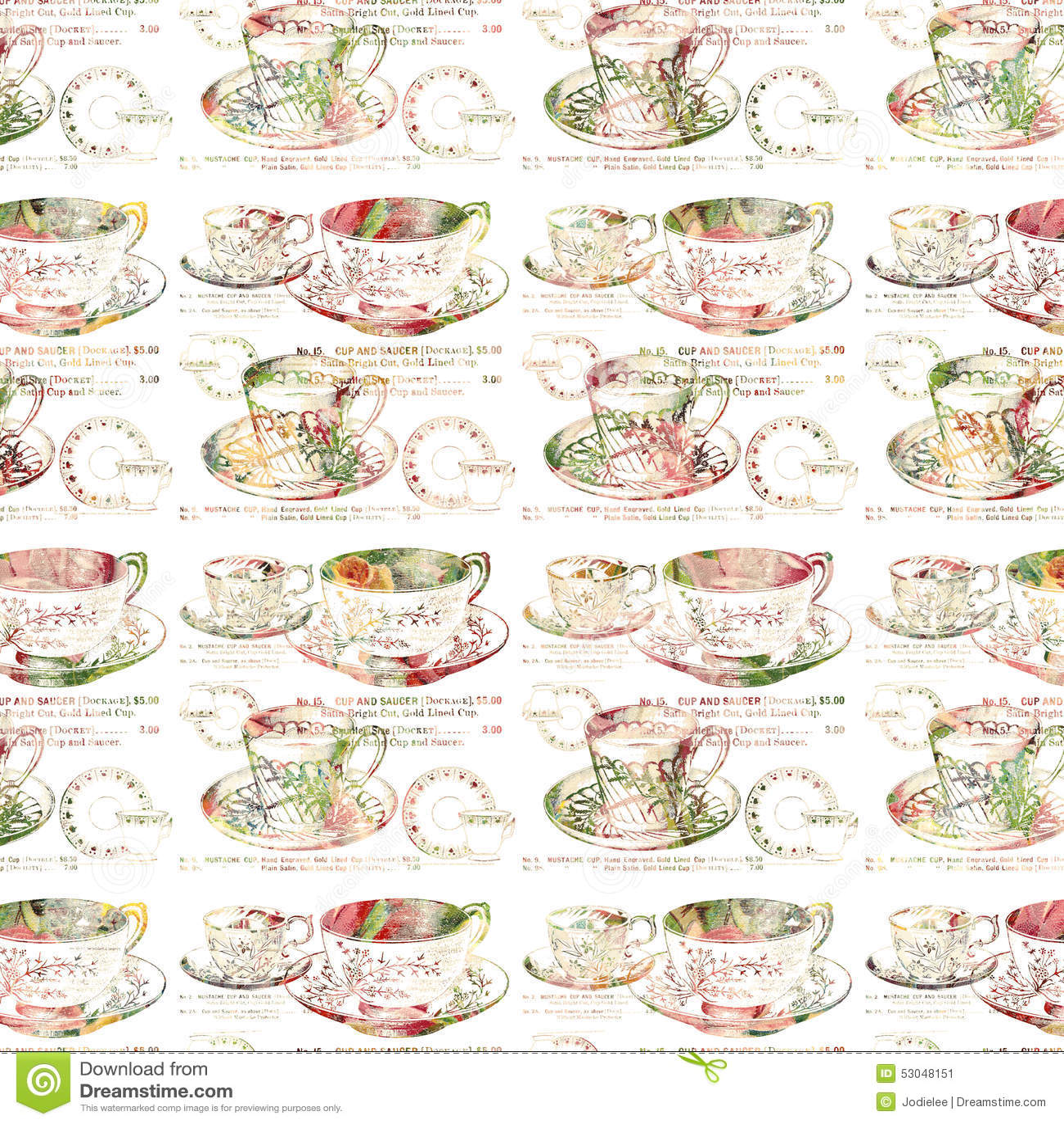Modèle sans couture de répétition antique de tasse de thé