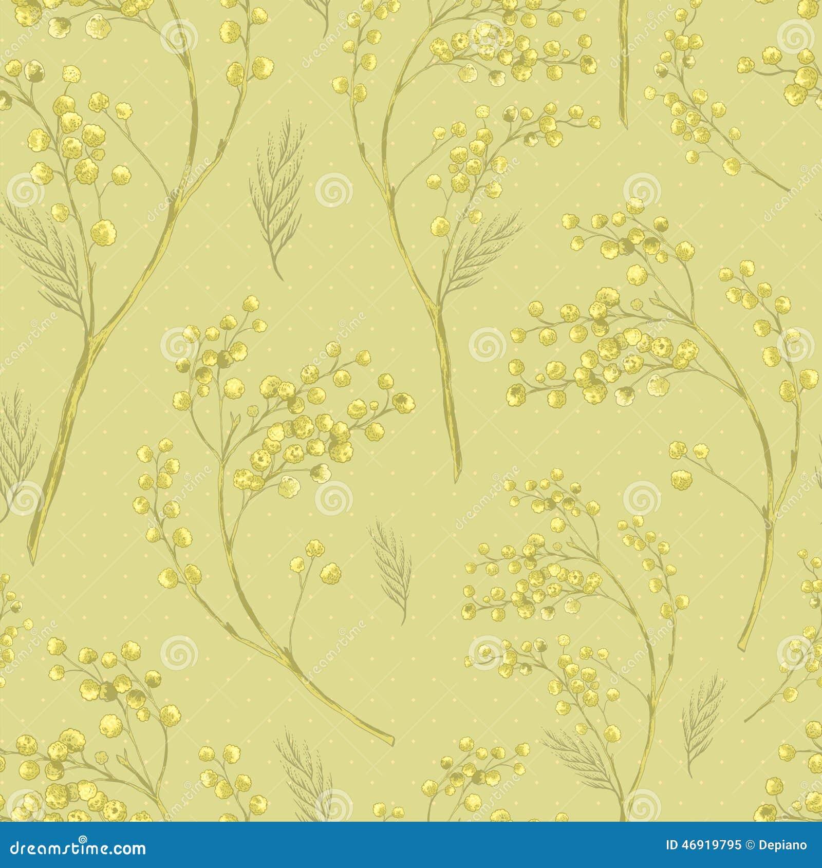 Modèle sans couture de ressort avec le brin de la mimosa