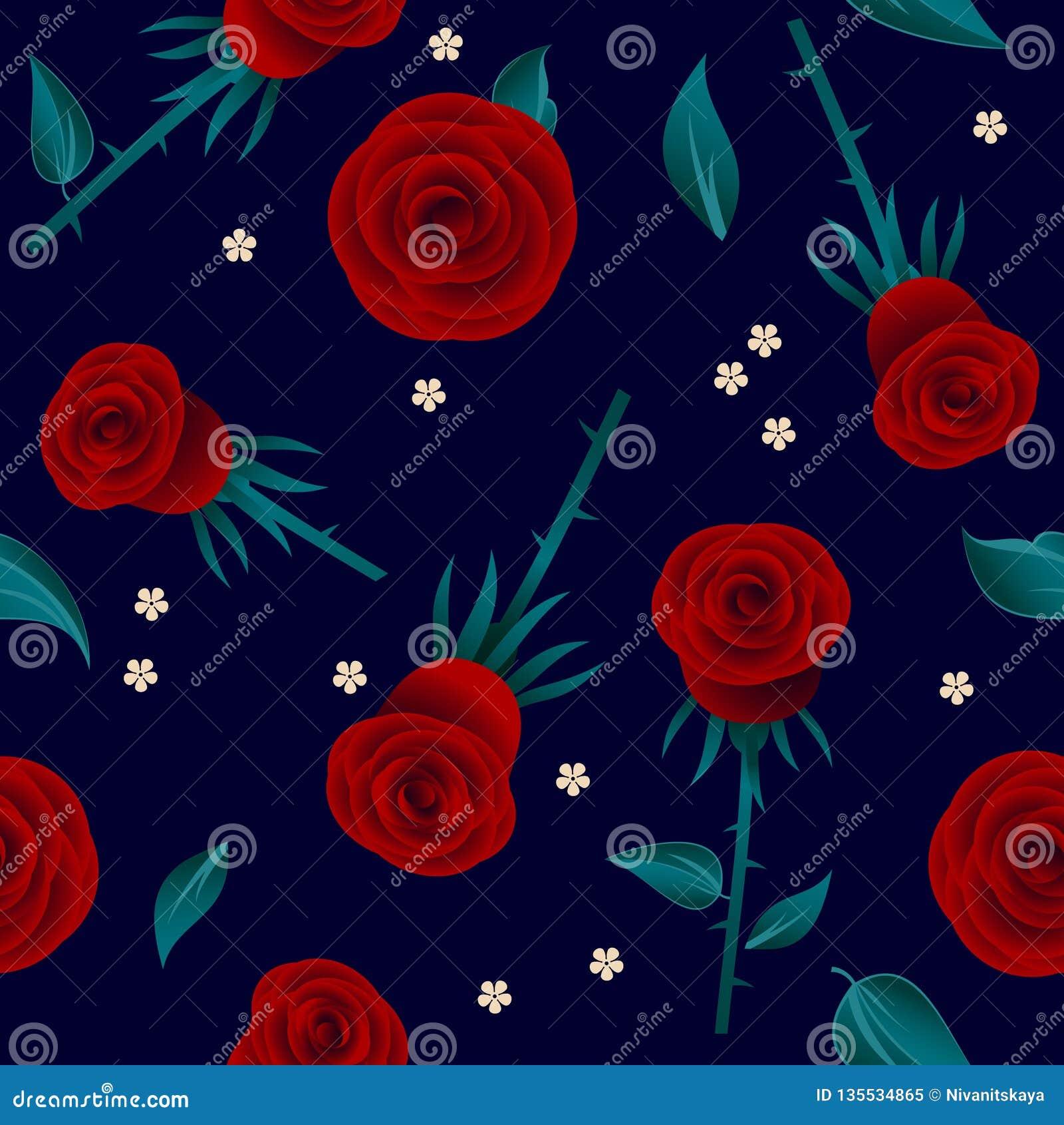 Modèle sans couture de roses rouges Roses avec des feuilles et de petites fleurs blanches sur le fond foncé