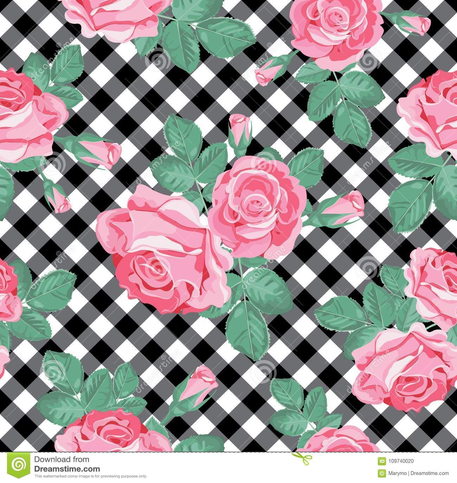Modèle sans couture de roses sur le guingan noir et blanc, fond quadrillé Illustration de vecteur