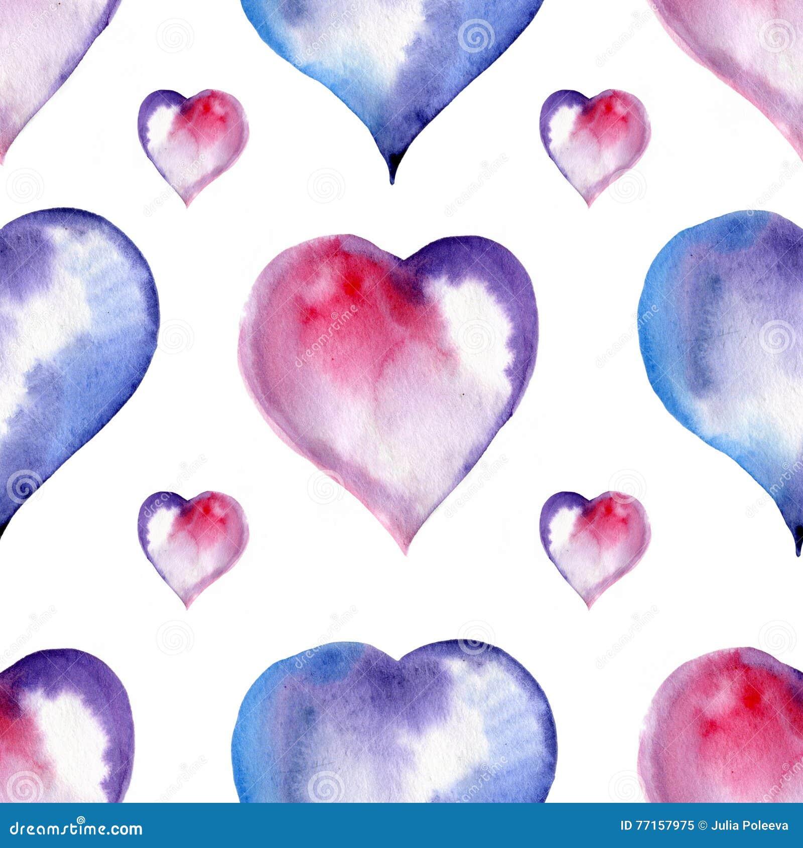Modèle sans couture de Saint Valentin des coeurs, aquarelle