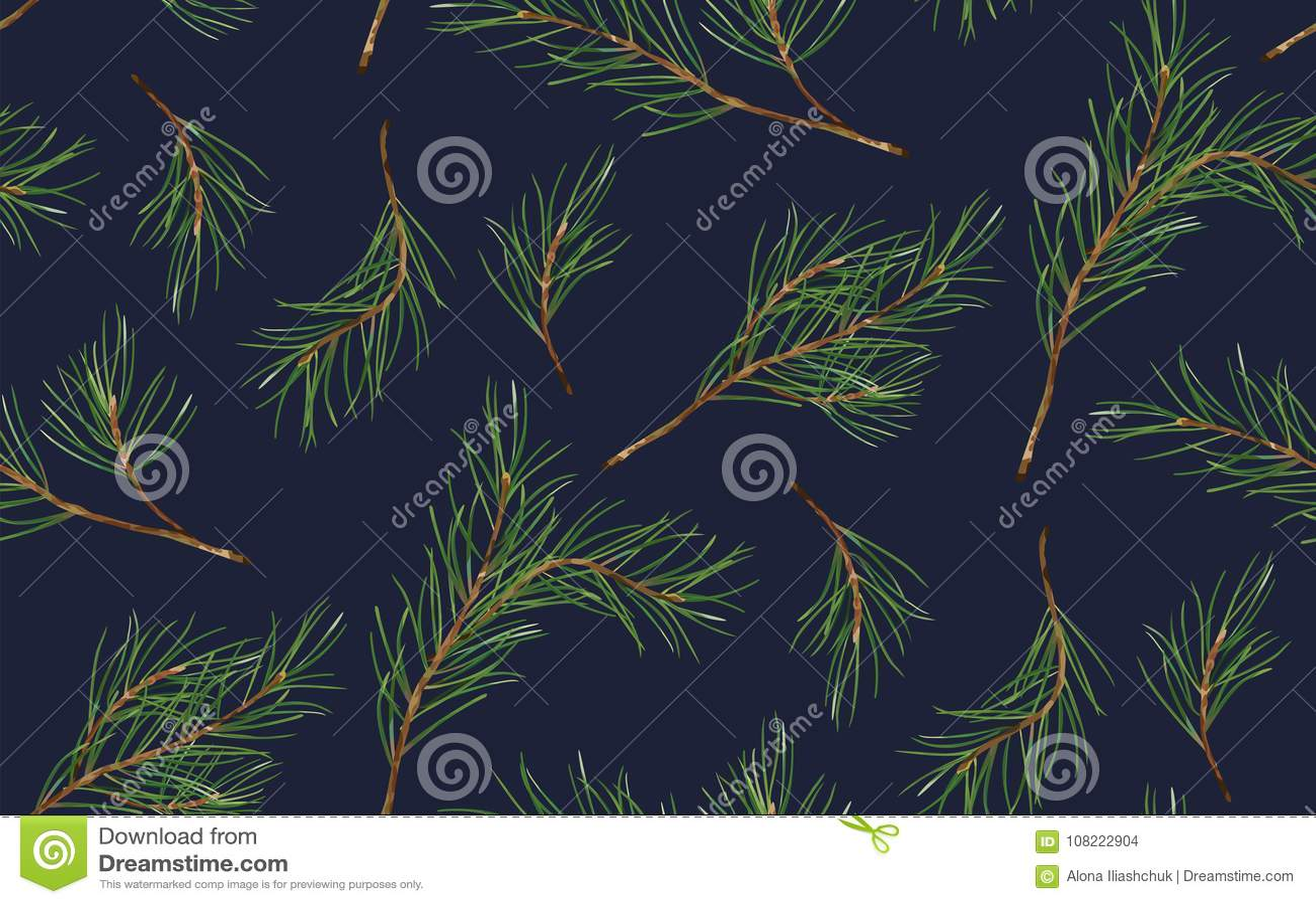 Modèle sans couture de sapin de Noël de pin, arbre de nouvelle année naturel
