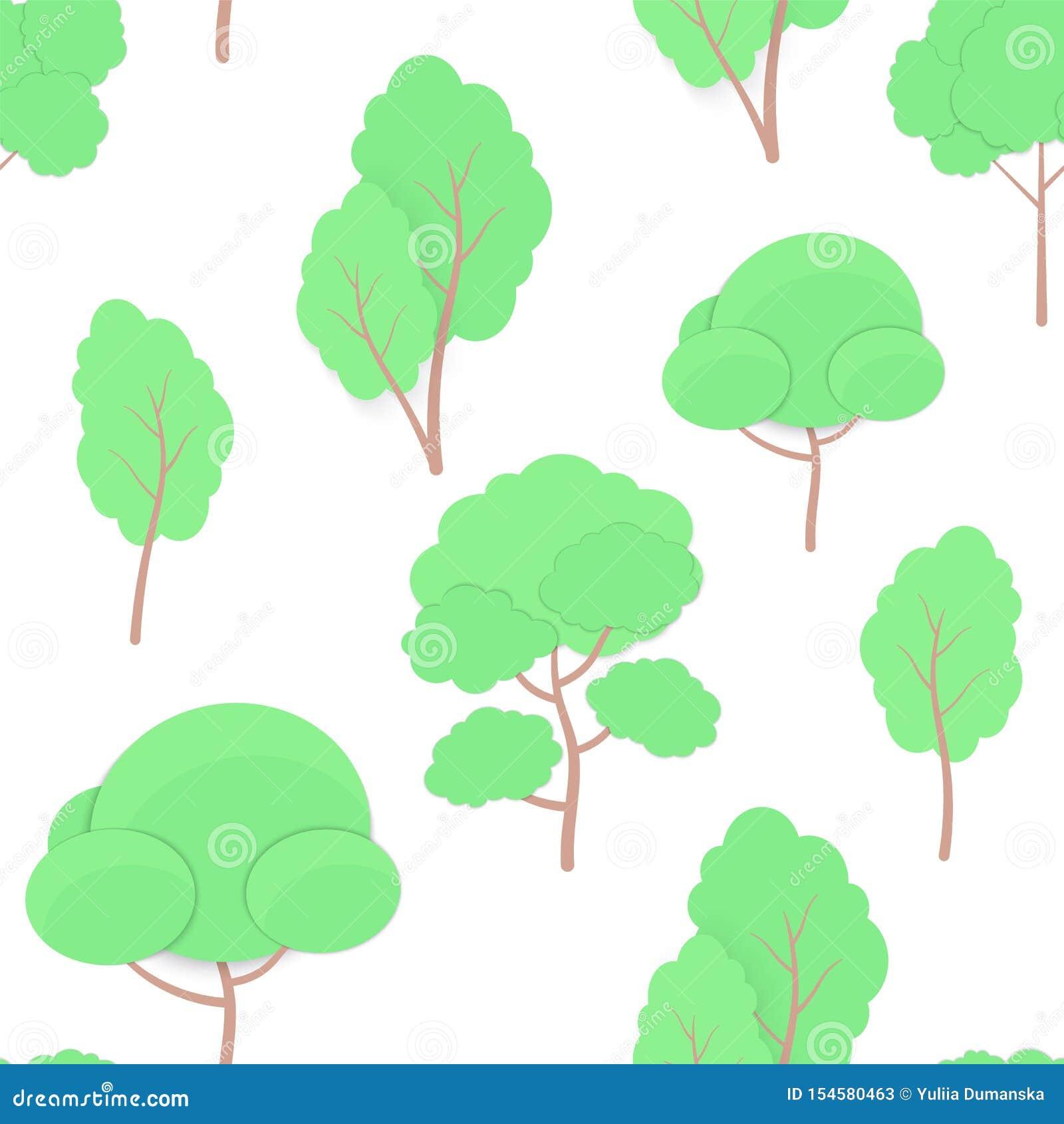 Modèle sans couture de style à la mode de métier de coupe de papier d arbres de bande dessinée d isolement sur le fond blanc Arbr