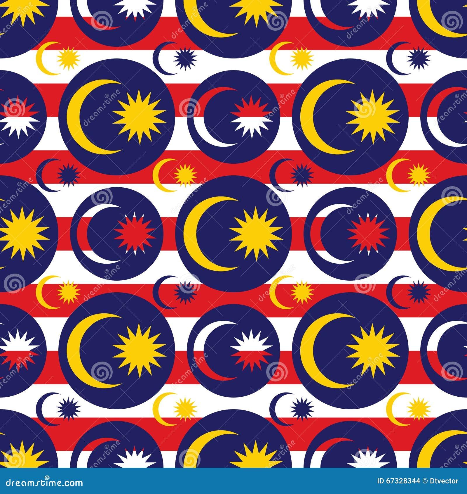 Modèle sans couture de symétrie d icône de drapeau de la Malaisie