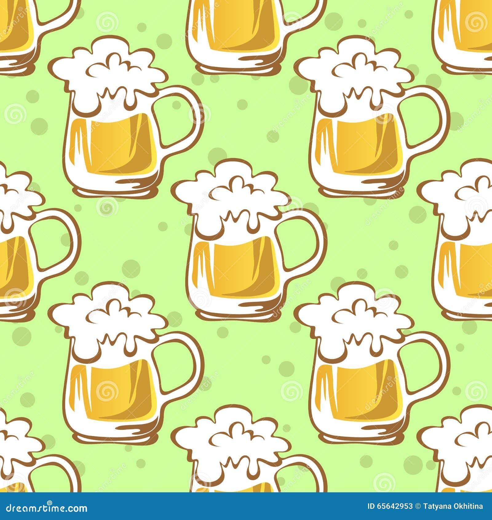 Modèle sans couture de tasse de bière