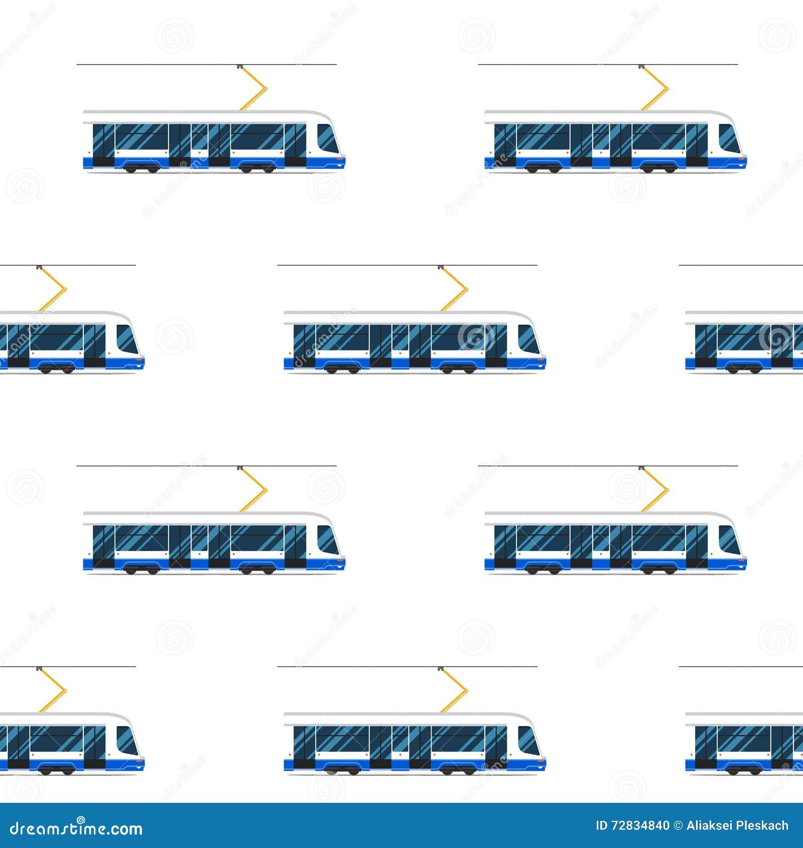 Modèle sans couture de tram moderne bleu