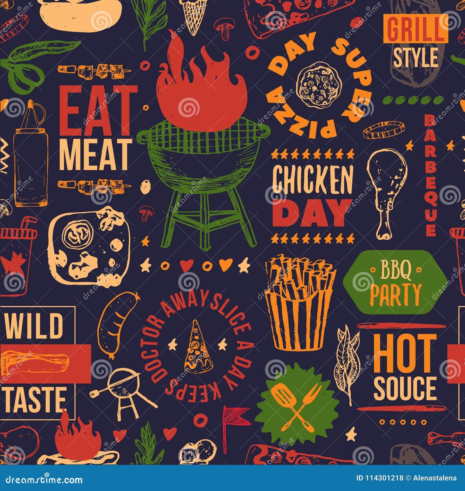 Modèle sans couture de typographie de vecteur de partie de barbecue avec le bifteck, la saucisse, gril se connecte le fond foncé