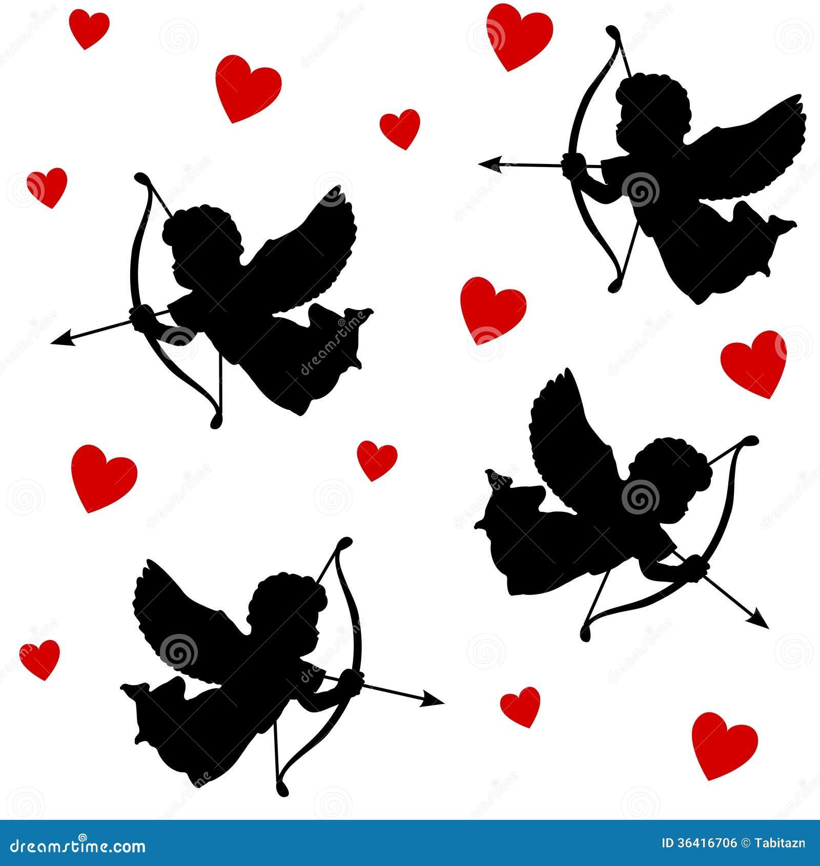 Modèle sans couture de valentine mignonne avec des silhouettes des cupidons d anges avec des flèches et des coeurs, icônes noires,