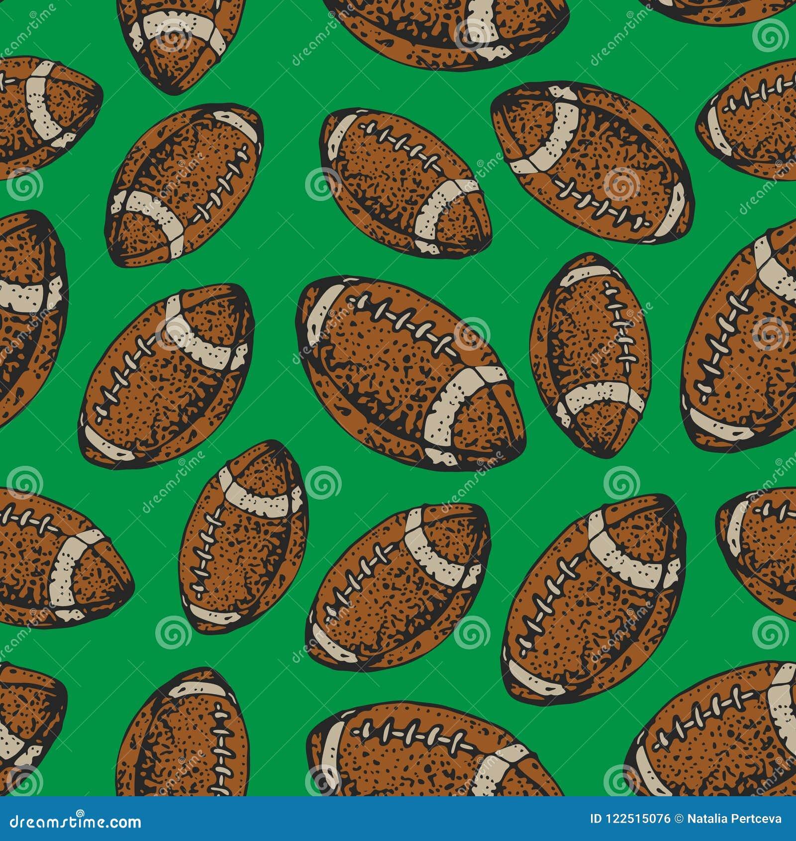 Modèle sans couture de vecteur avec des boules de football américain Sport de rugby Fond de style de bande dessinée
