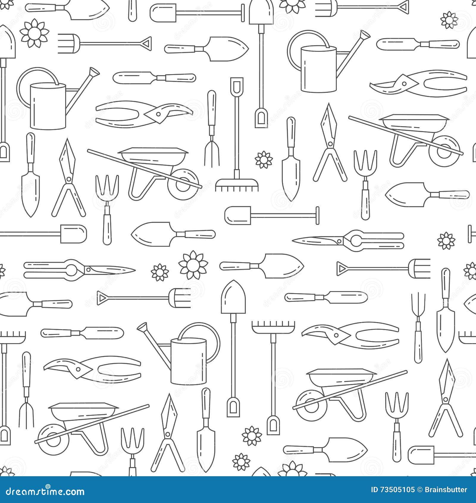 Les Outils De Jardinage Avec Photos modèle sans couture de vecteur avec des outils de jardin
