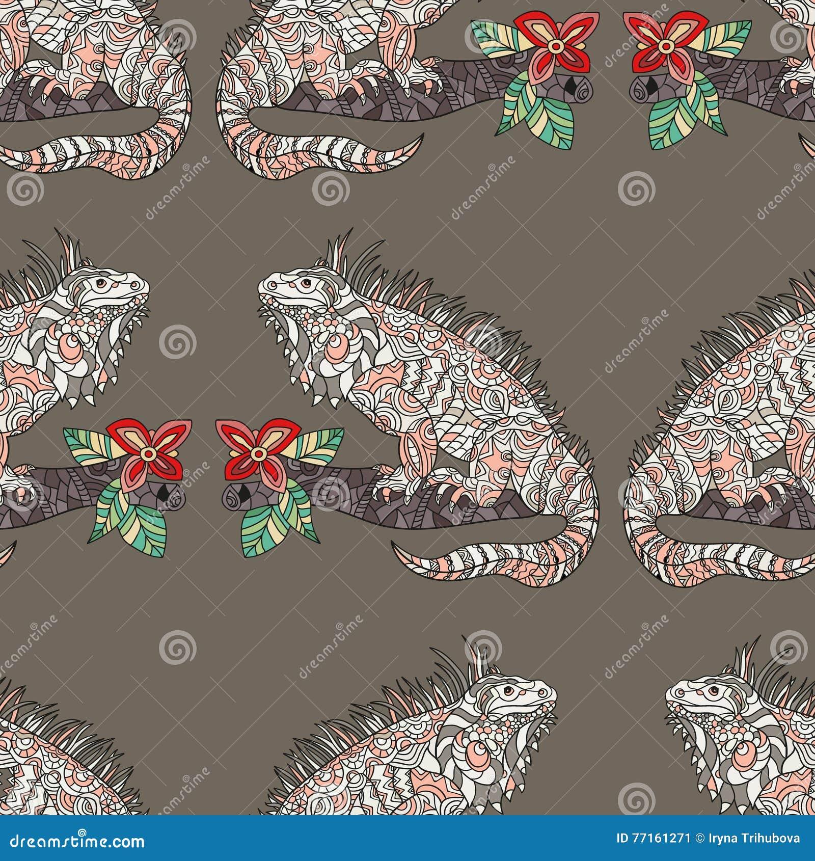 Modèle sans couture de vecteur avec l iguane tiré par la main