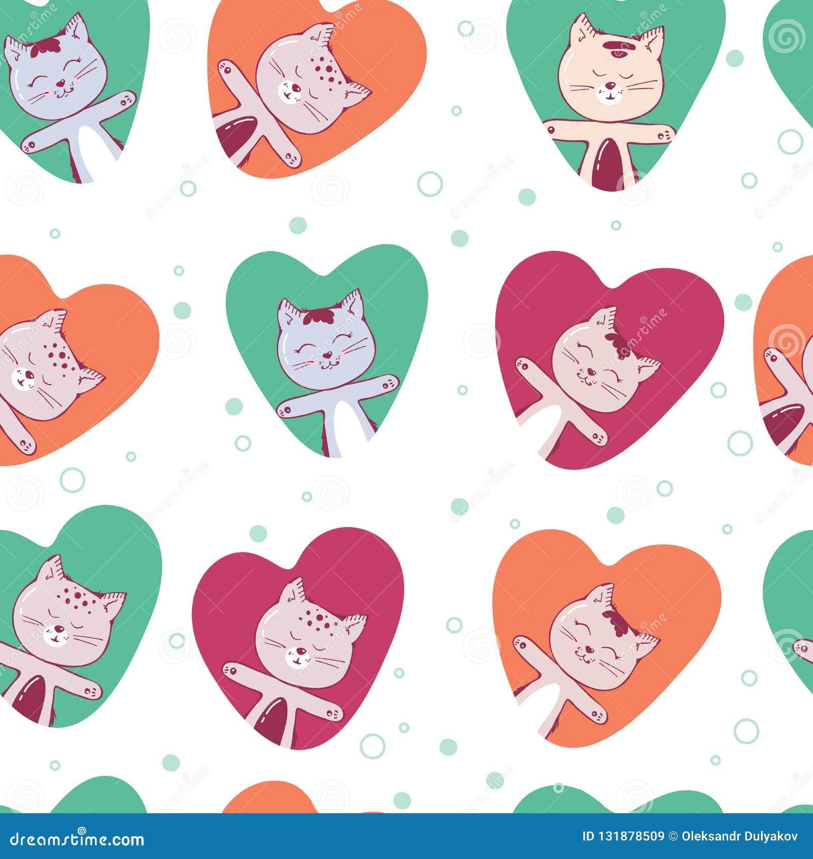 Modèle sans couture de vecteur avec le chaton Fond drôle avec des animaux pour des enfants Mignon chez le chat d amour au coeur r